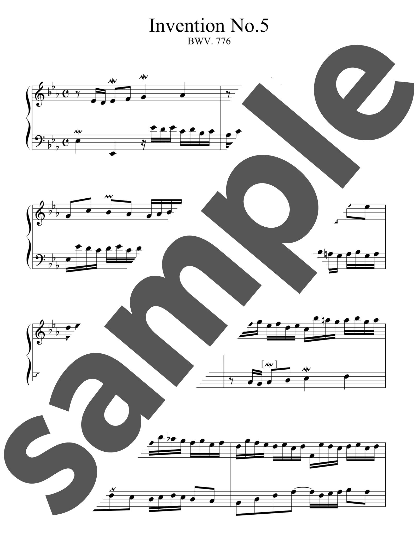 「インベンション第5番」のサンプル楽譜