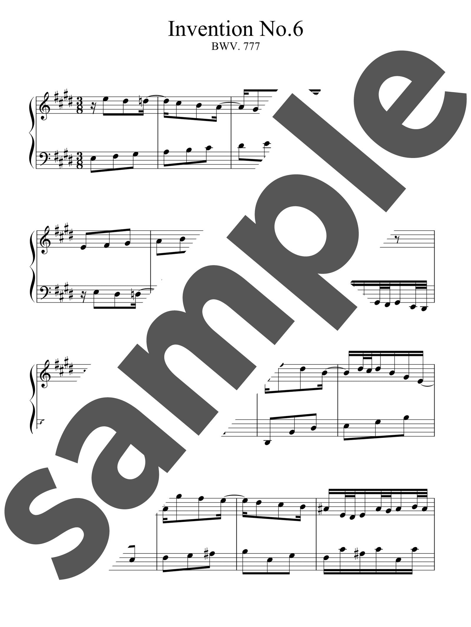「インベンション第6番」のサンプル楽譜