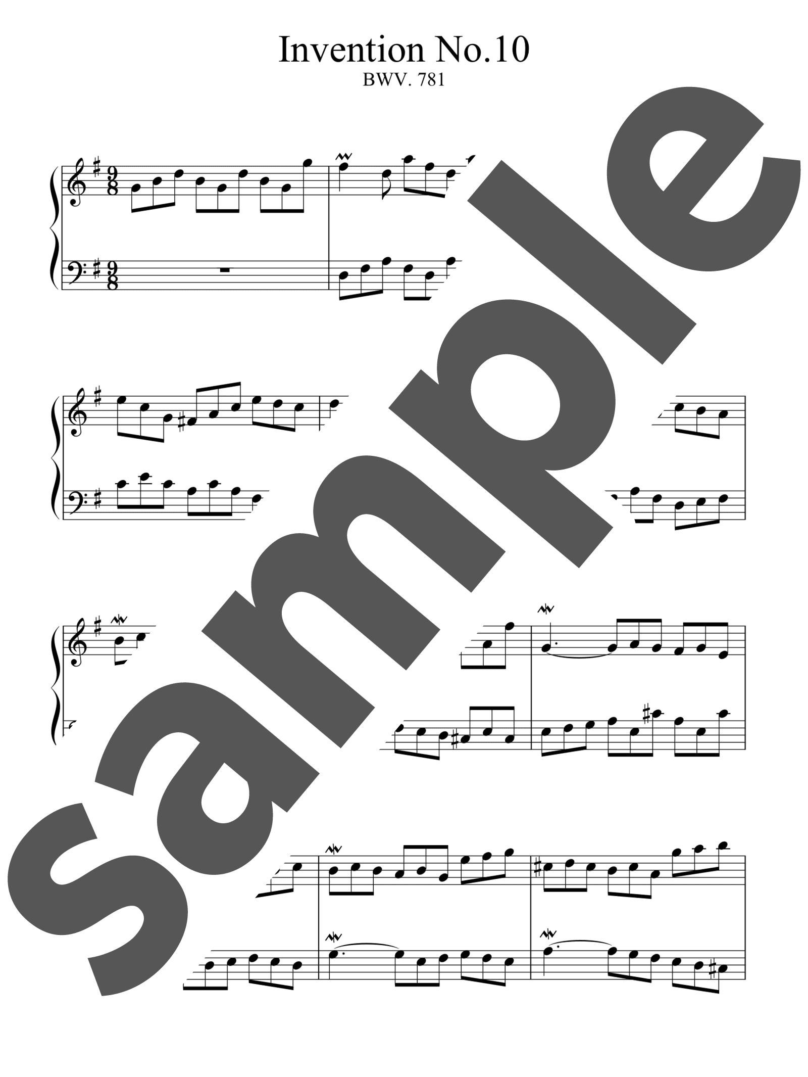 「インベンション第10番」のサンプル楽譜