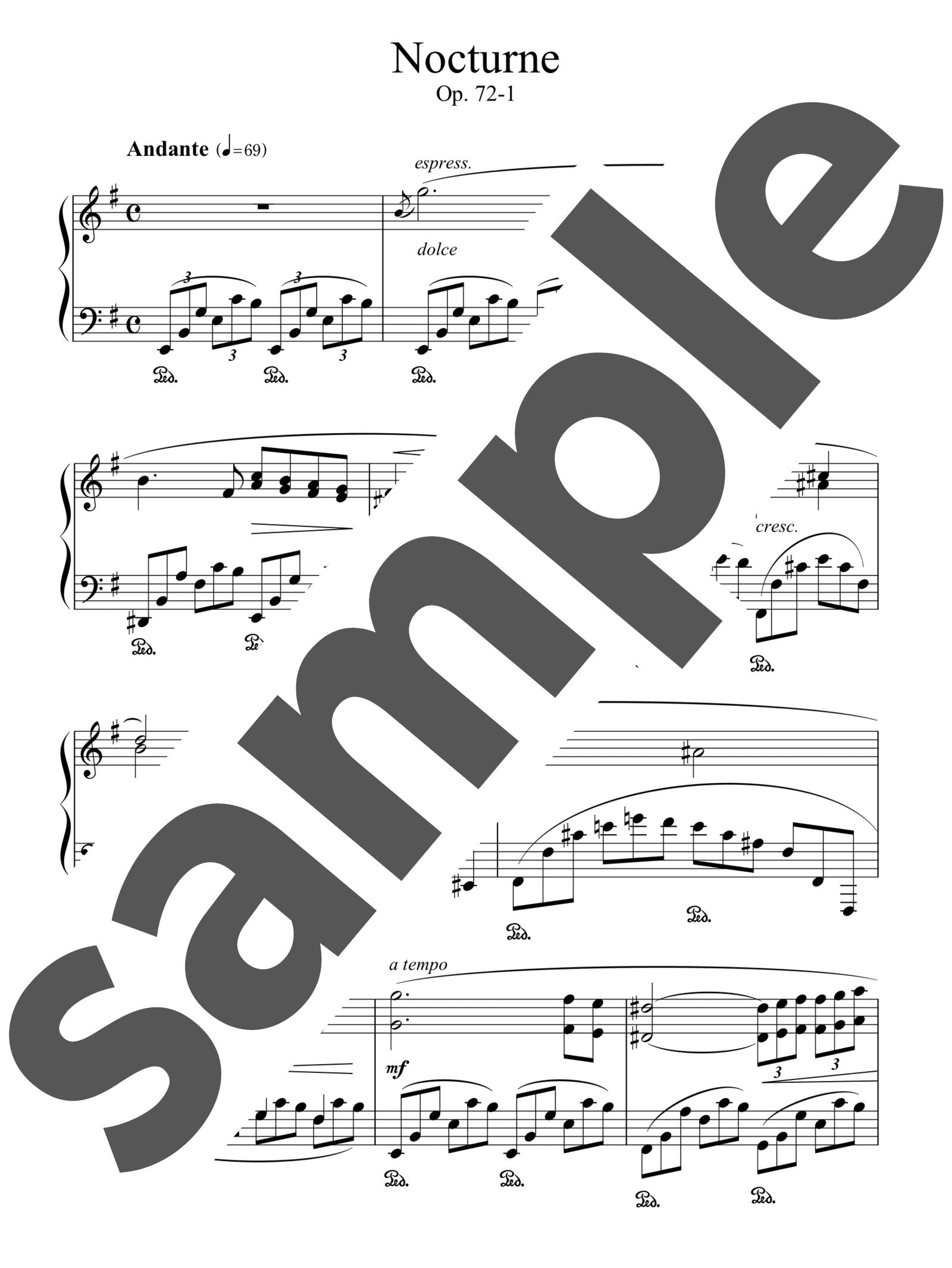 「ノクターン第19番op.72-1」のサンプル楽譜