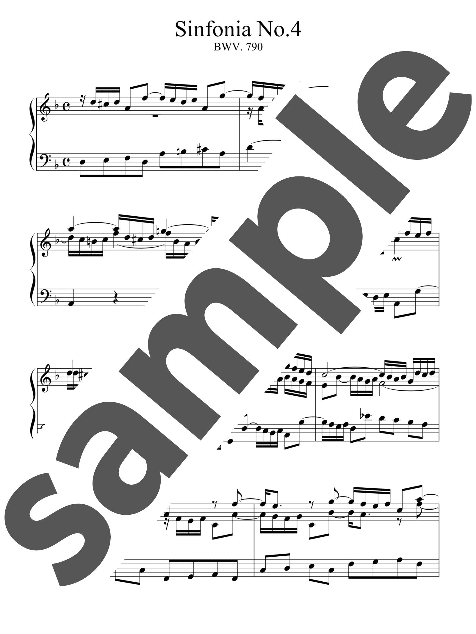 「シンフォニア第4番」のサンプル楽譜