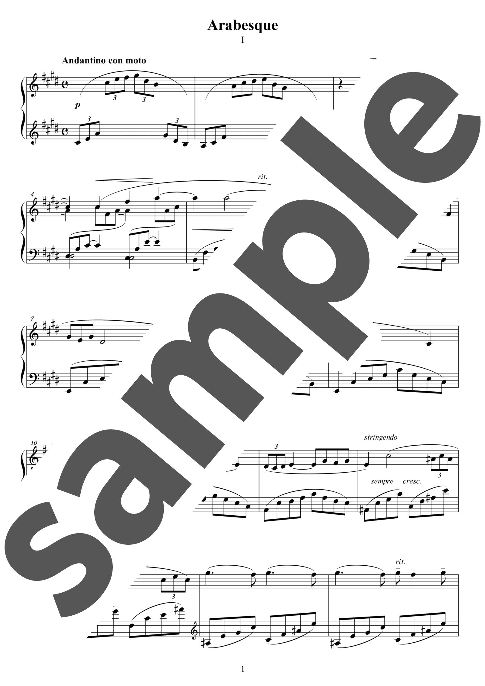 「2つのアラベスク第1番」のサンプル楽譜