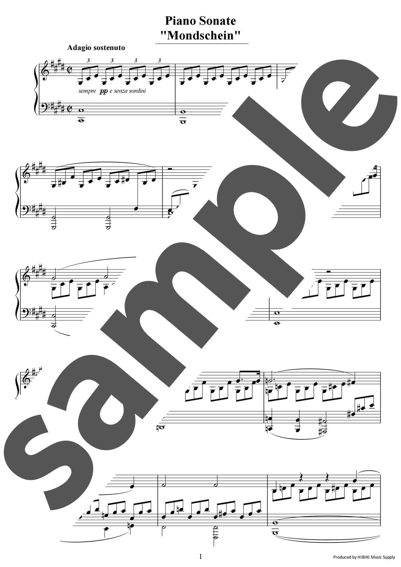 「ピアノソナタ第14番 嬰ハ短調「月光」全楽章」のサンプル楽譜
