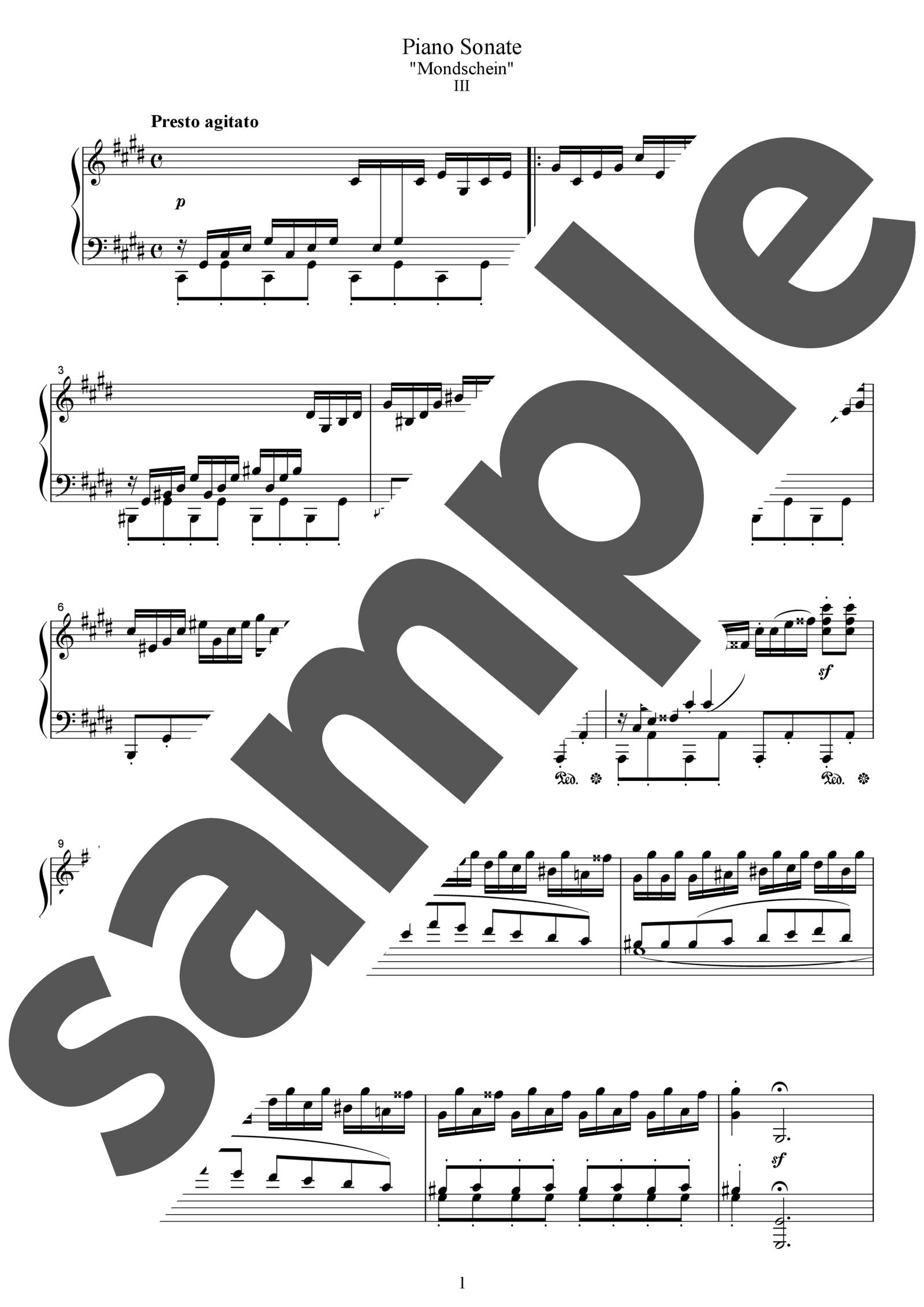 「ピアノ・ソナタ第14番第3楽章」のサンプル楽譜