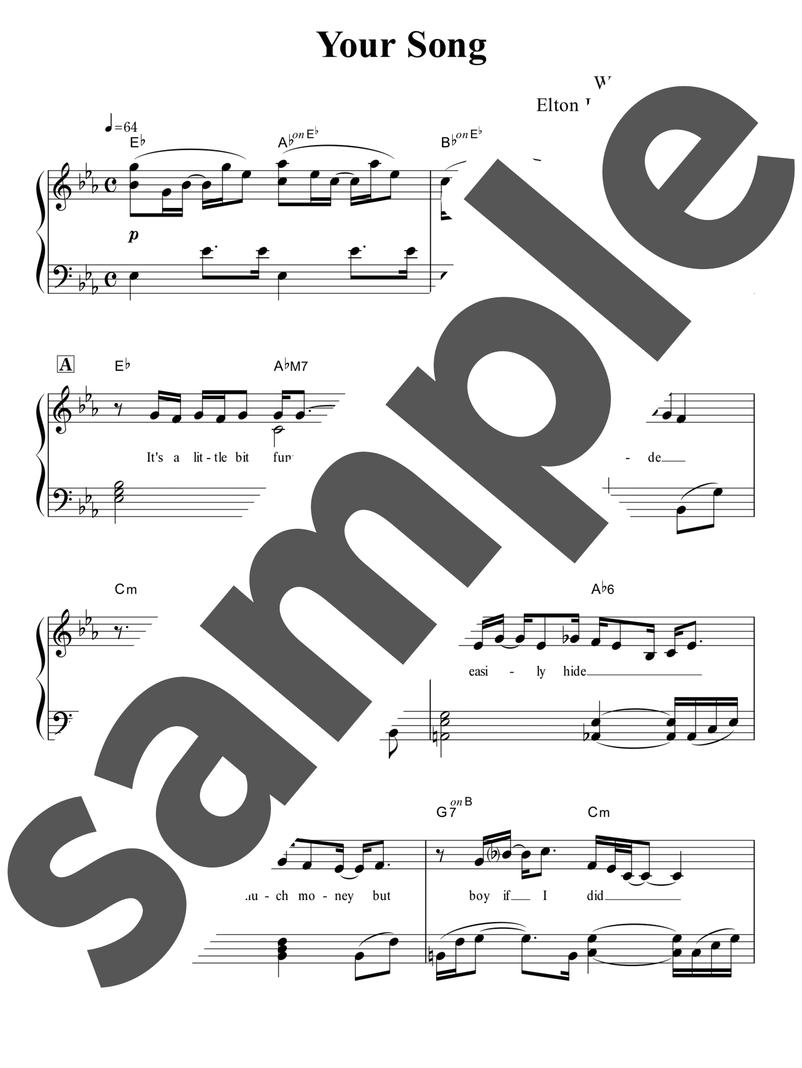 「Your Song」のサンプル楽譜