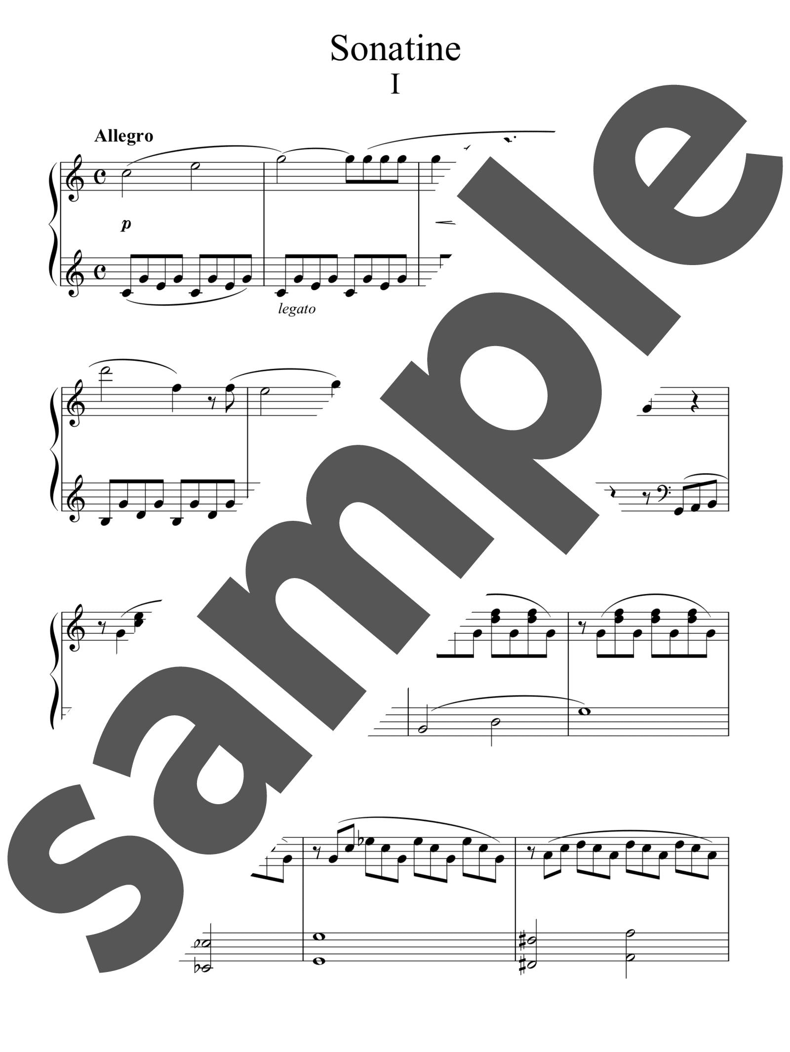 「ソナチネ1番作品20-1 第1楽章」のサンプル楽譜