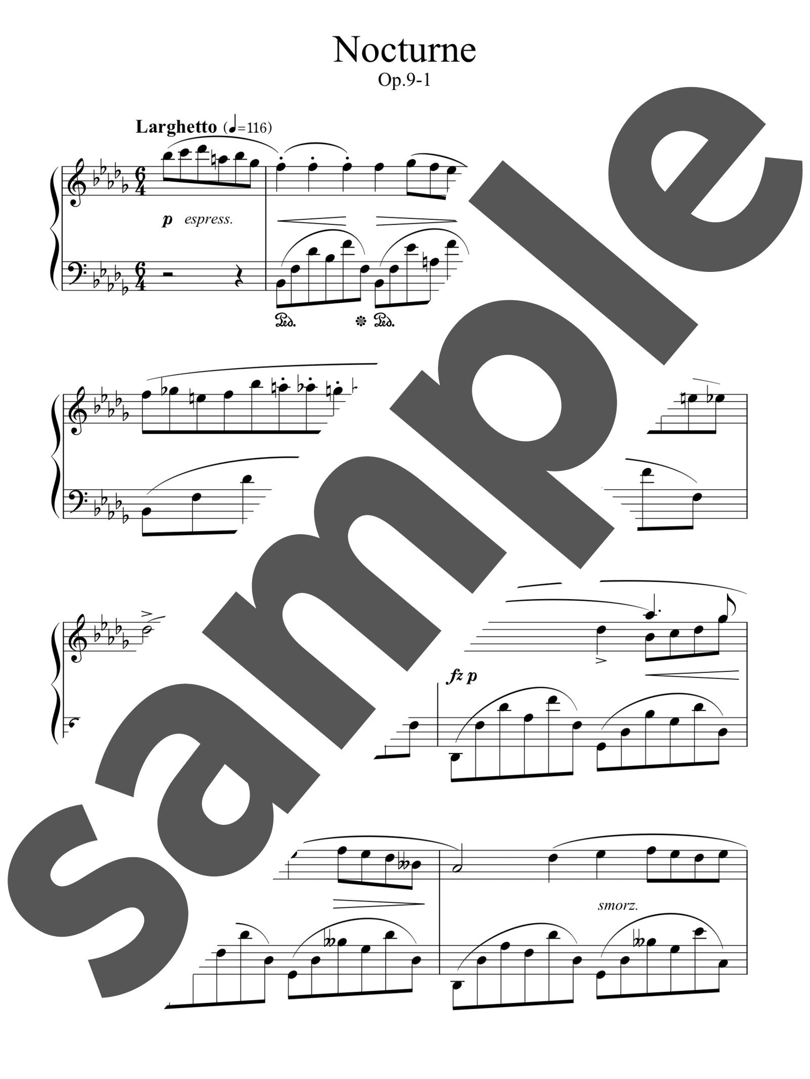 「ノクターン第1番変ロ短調 作品9-1」のサンプル楽譜