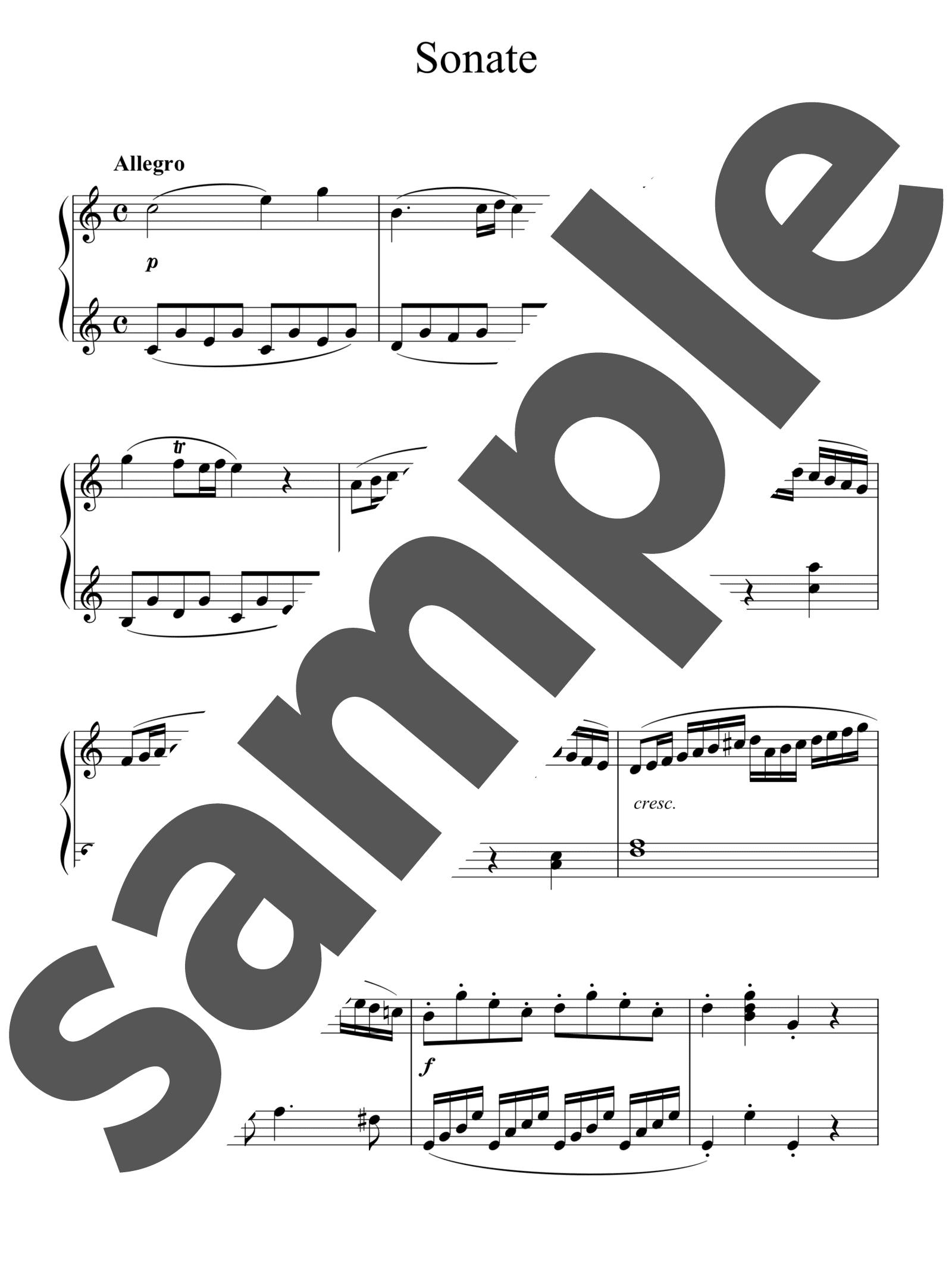 「ピアノソナタ第15番ハ長調」のサンプル楽譜