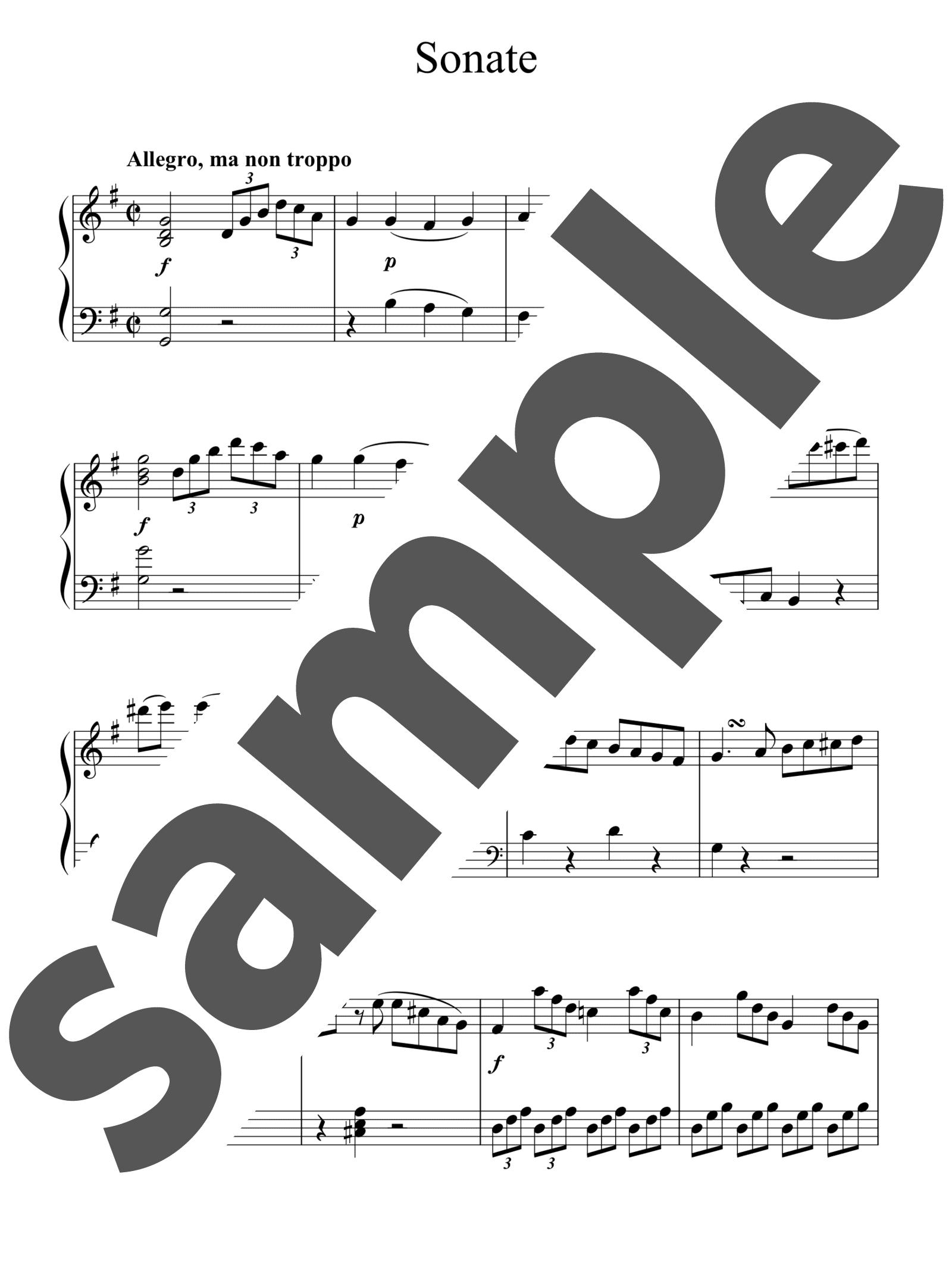 「ピアノソナタ第20番ト長調」のサンプル楽譜