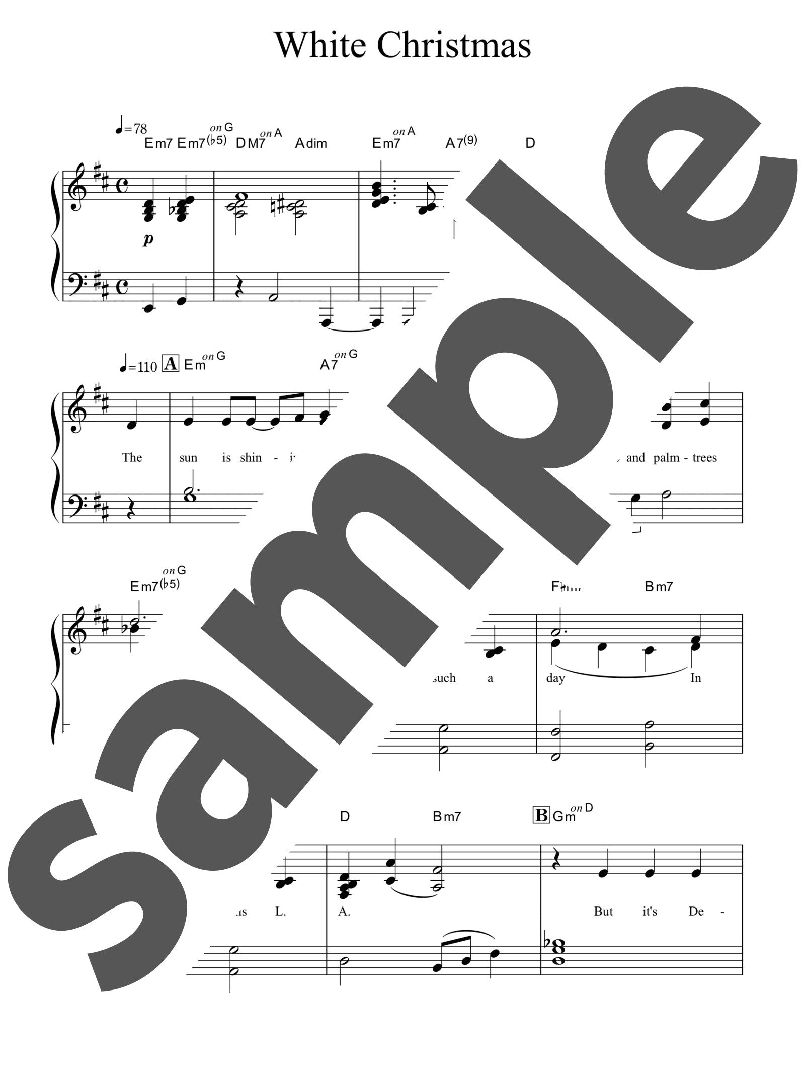 「ホワイトクリスマス」のサンプル楽譜