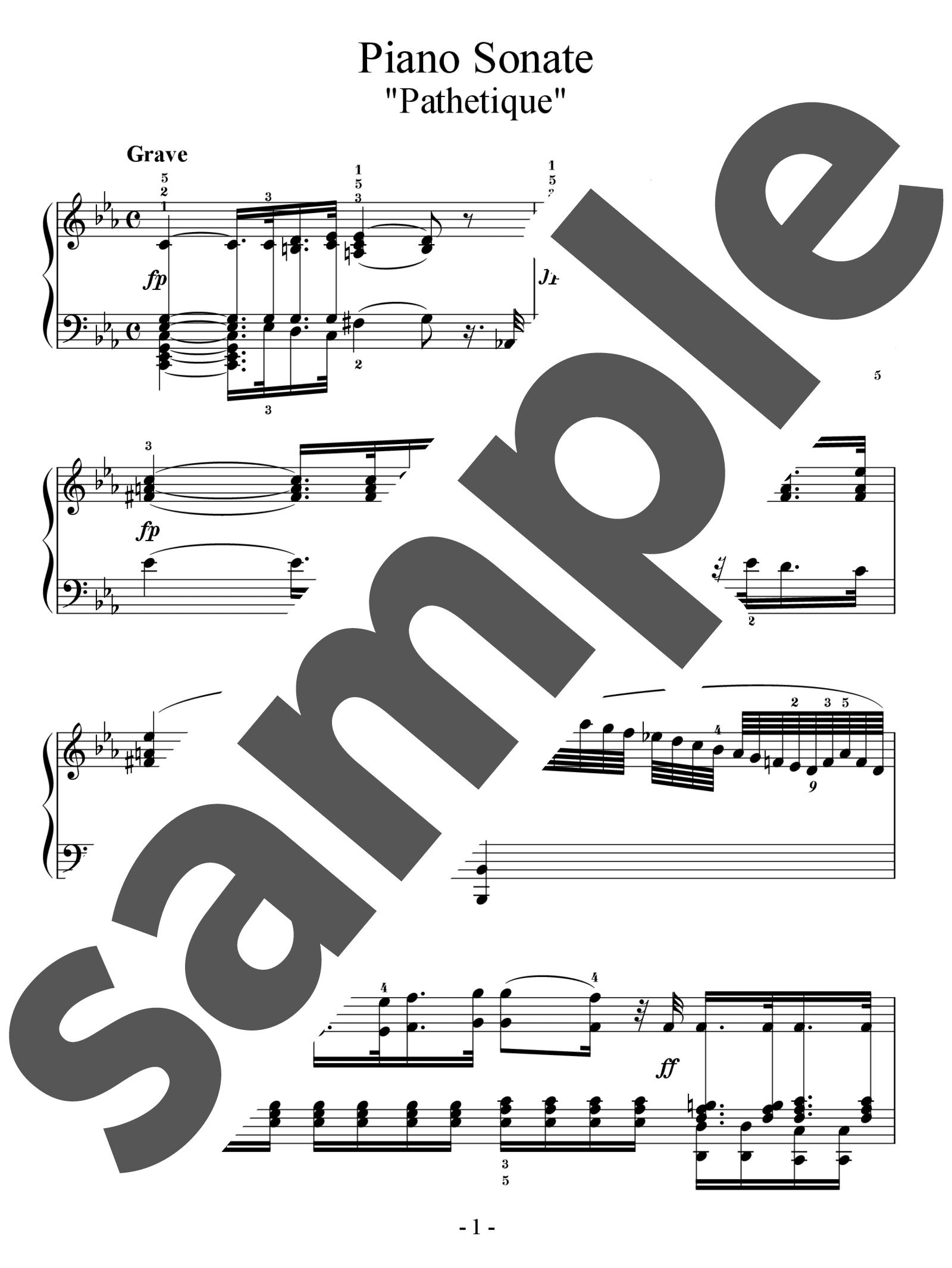 「ピアノソナタ第8番「悲愴」」のサンプル楽譜