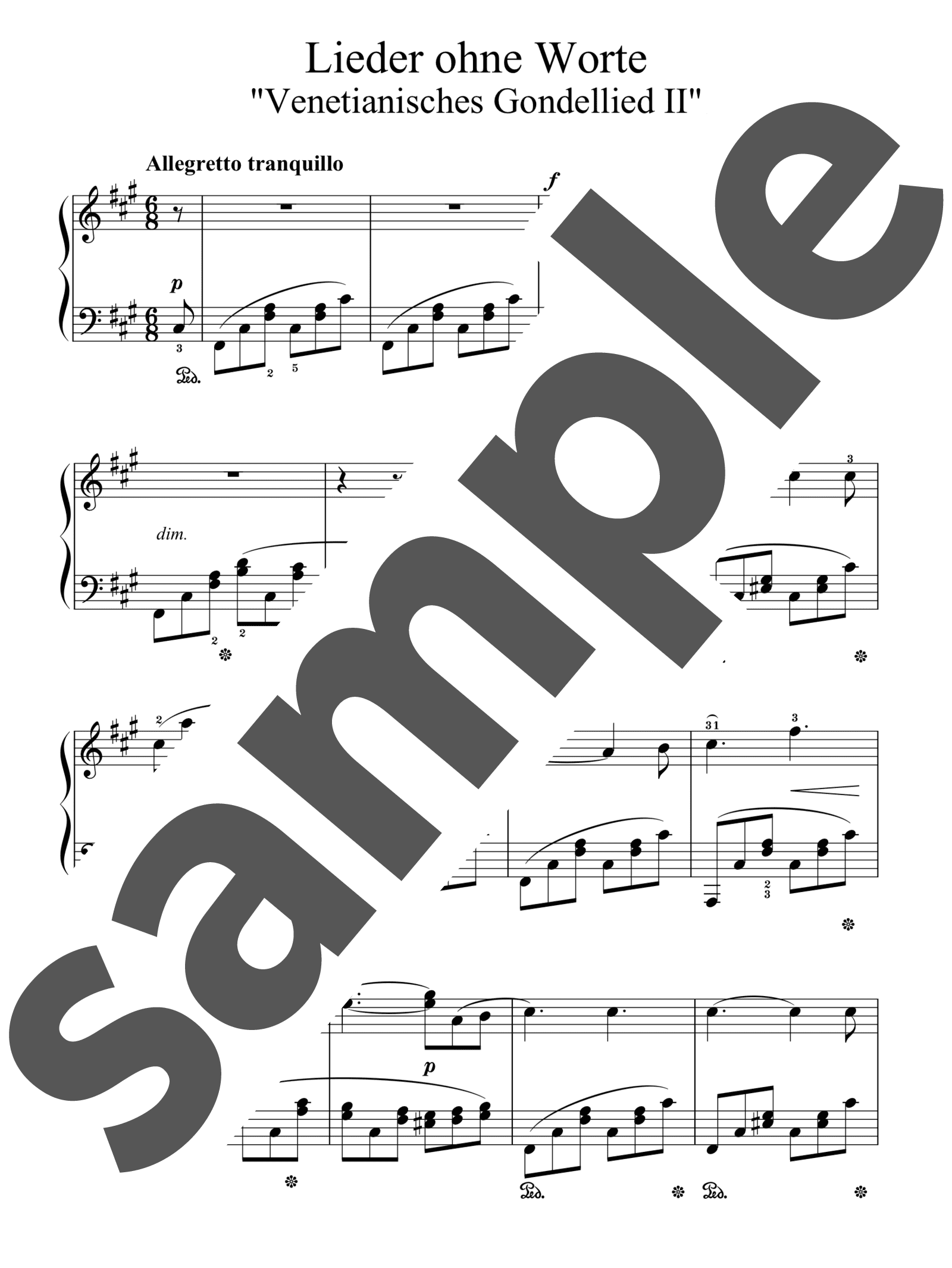 「無言歌集より「ヴェネツィアの舟歌第2」」のサンプル楽譜