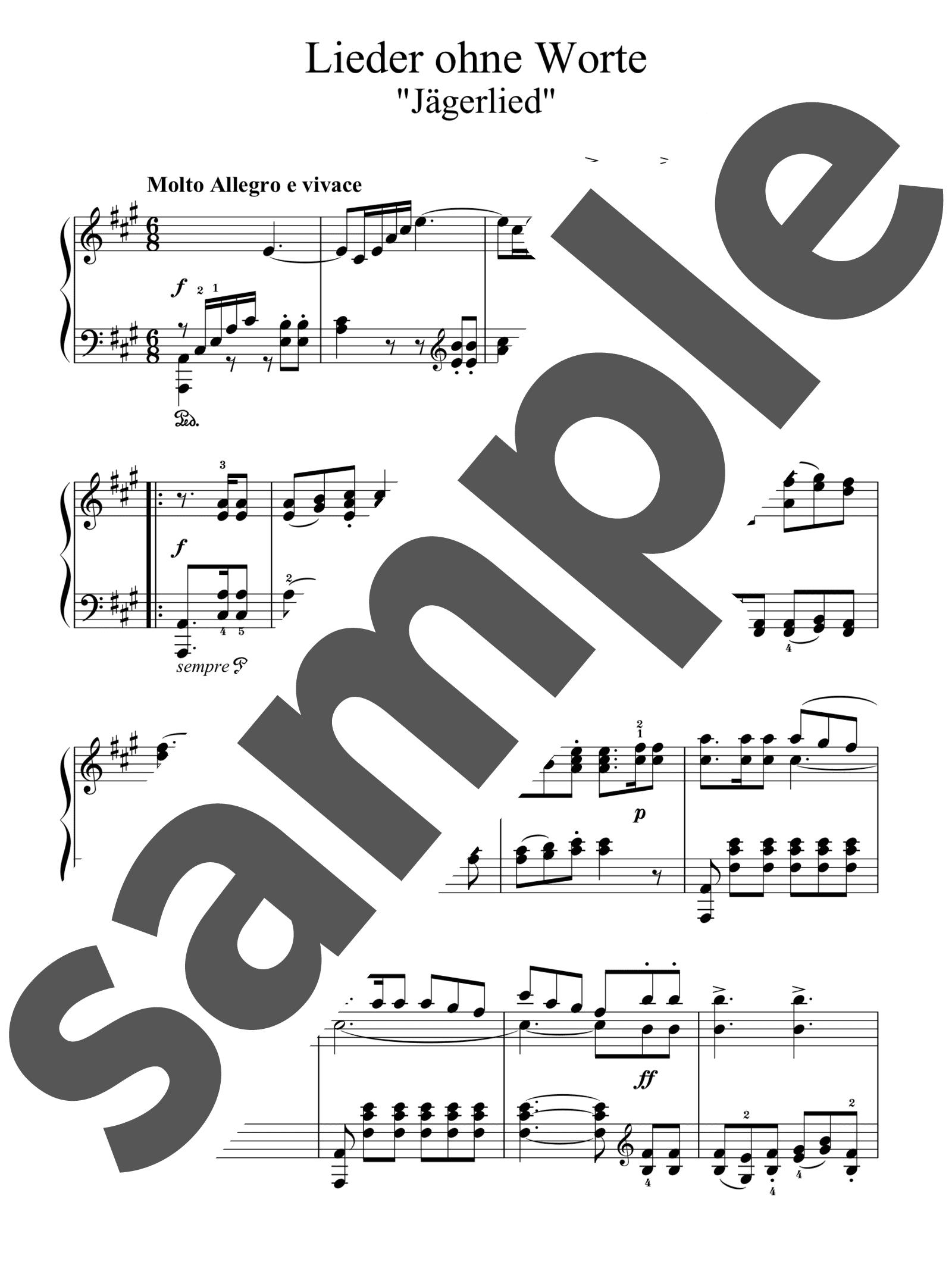「無言歌集より「狩人の歌」」のサンプル楽譜