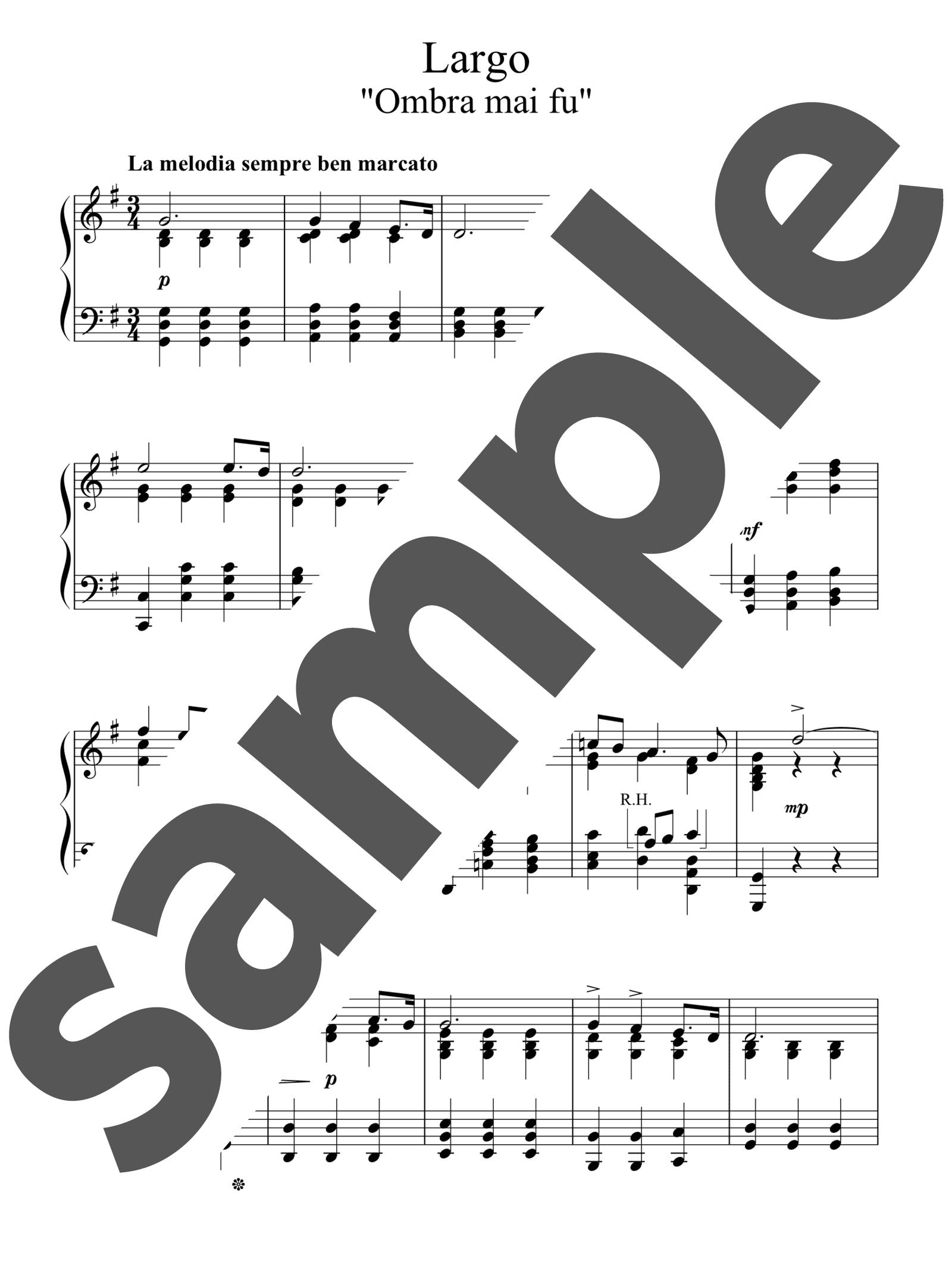 「オンブラ・マイ・フ」のサンプル楽譜