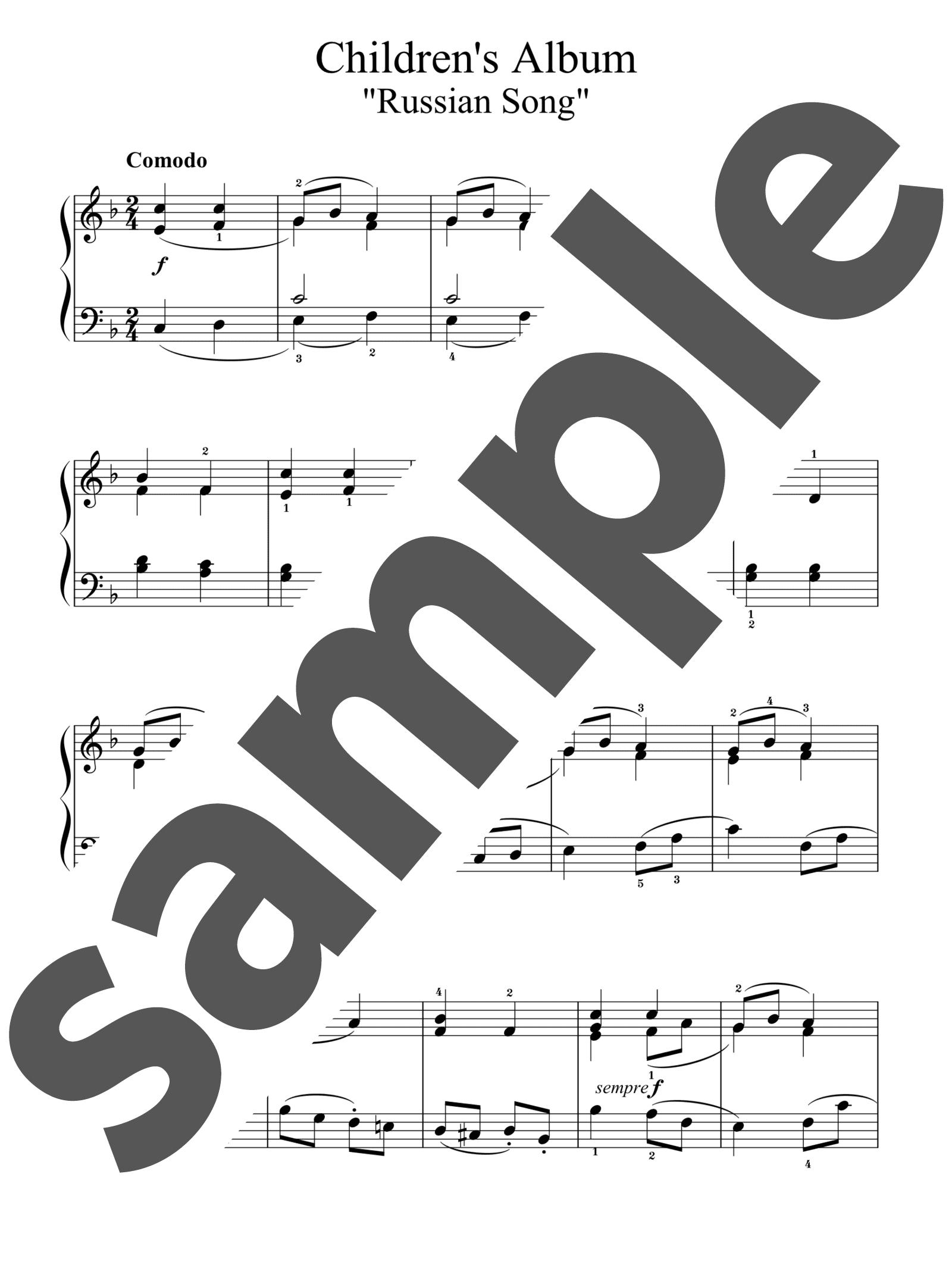 「子供のアルバムより「ロシアの歌」」のサンプル楽譜