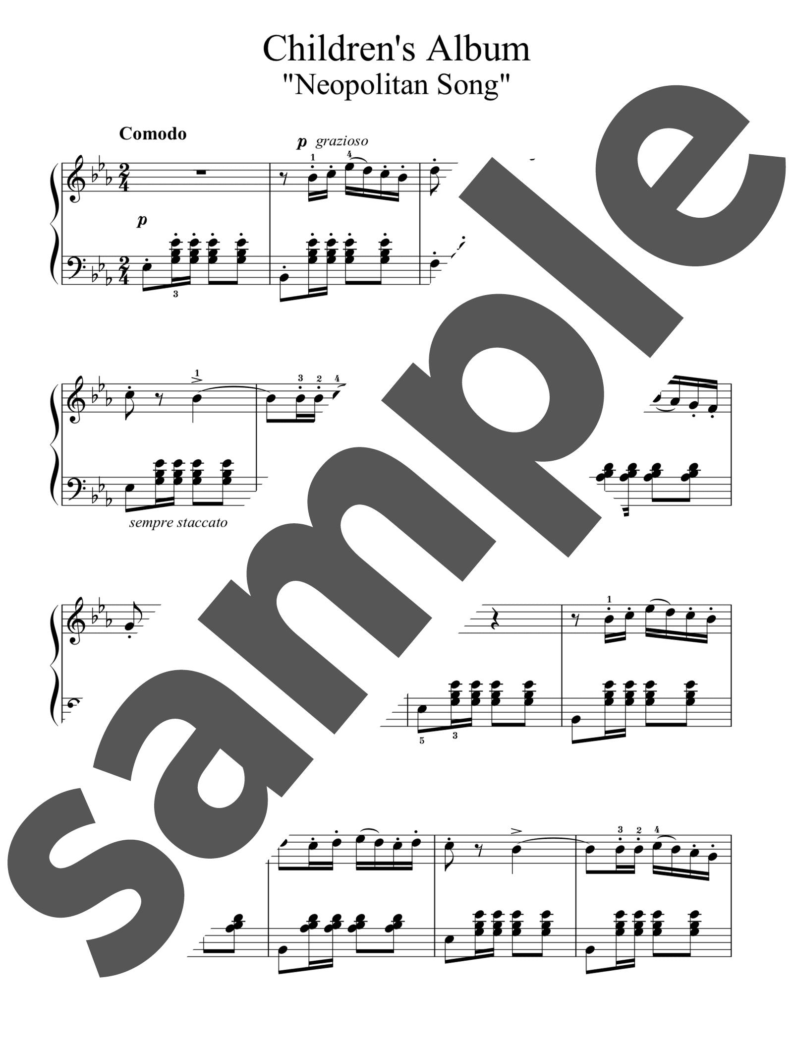 「子供のアルバムより「ナポリ人の歌」」のサンプル楽譜