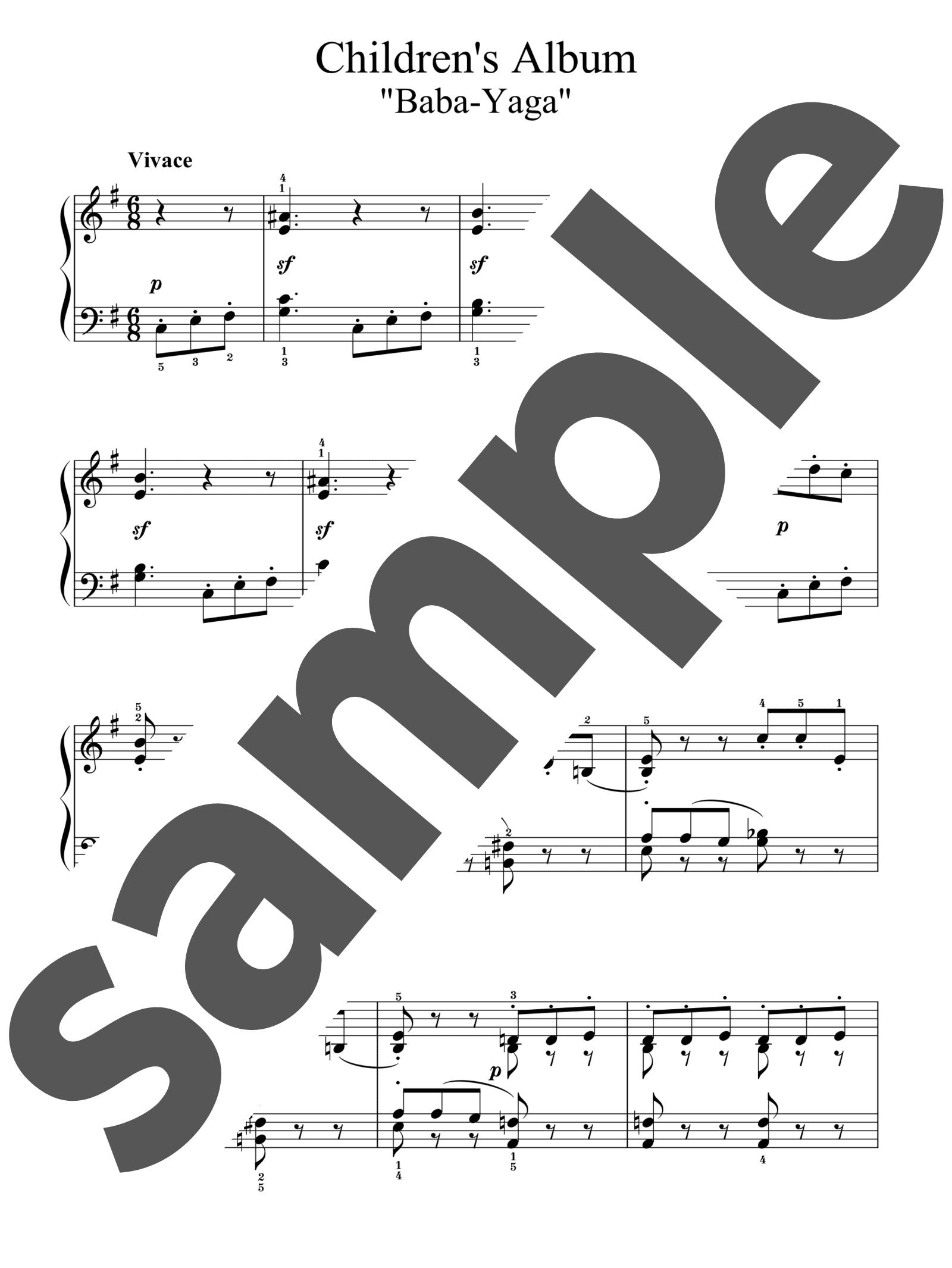 「子供のアルバムより「ババ・ヤガ」」のサンプル楽譜