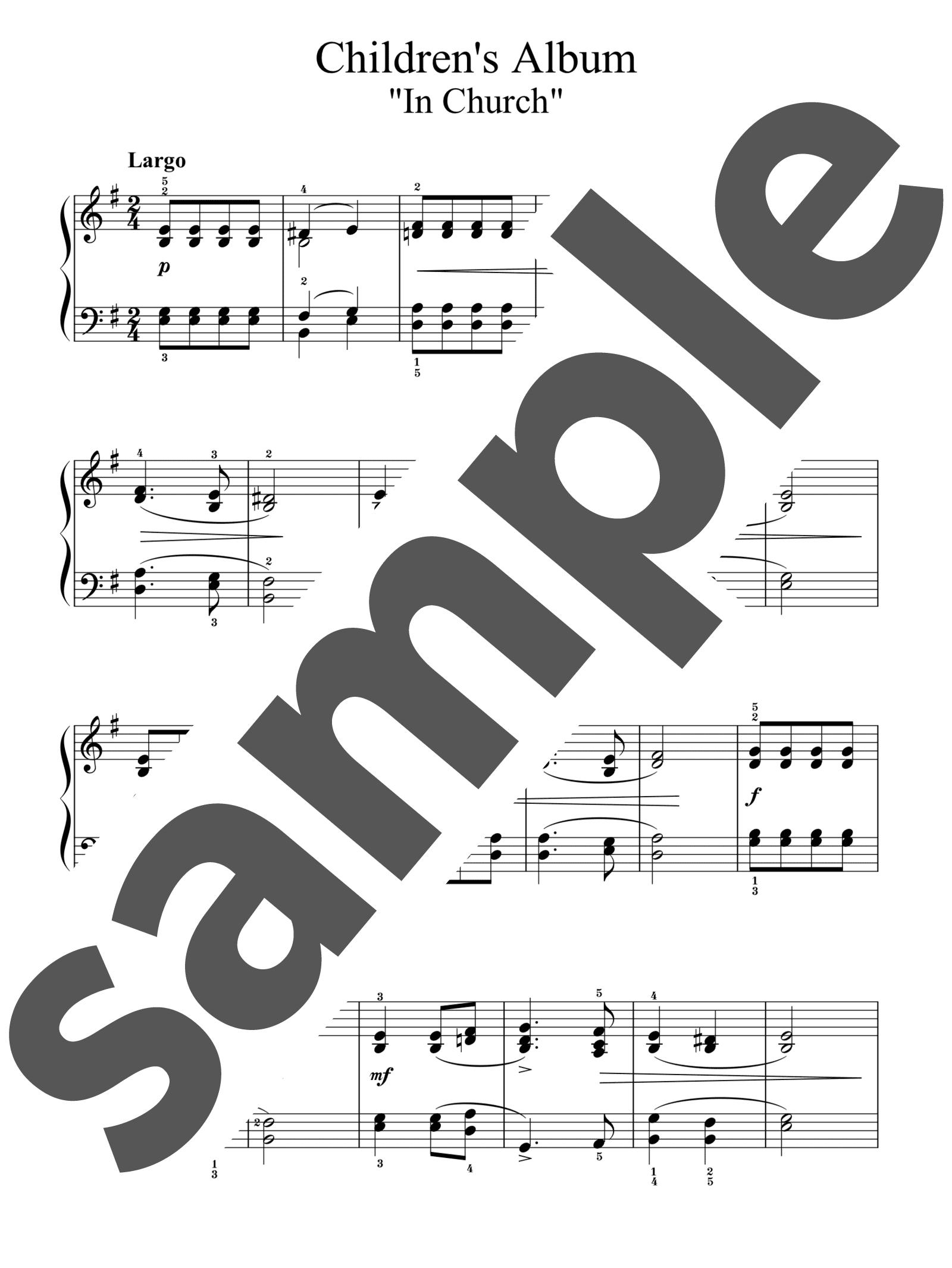 「子供のアルバムより「教会で」」のサンプル楽譜
