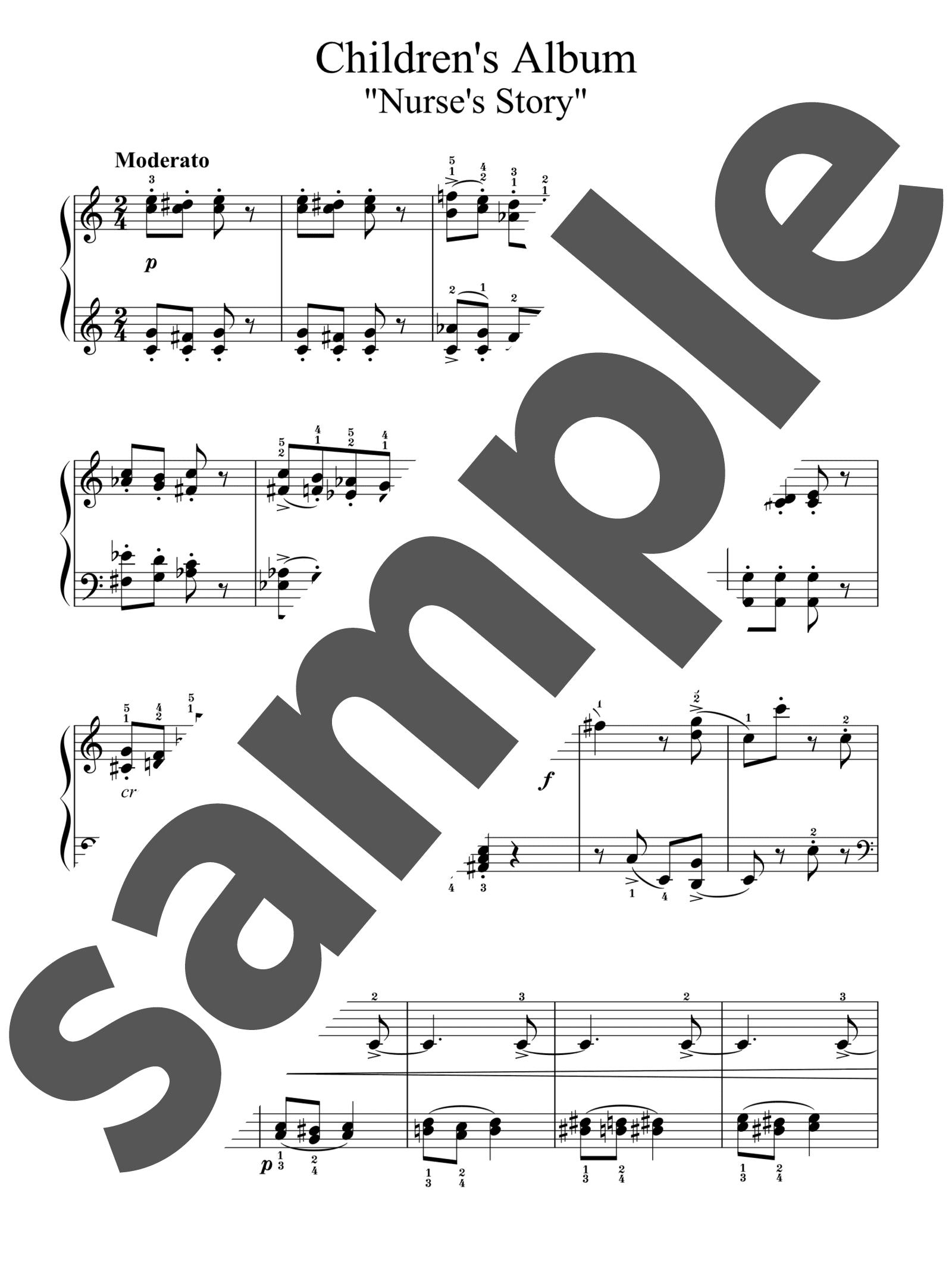「子供のアルバムより「乳母のお話」」のサンプル楽譜