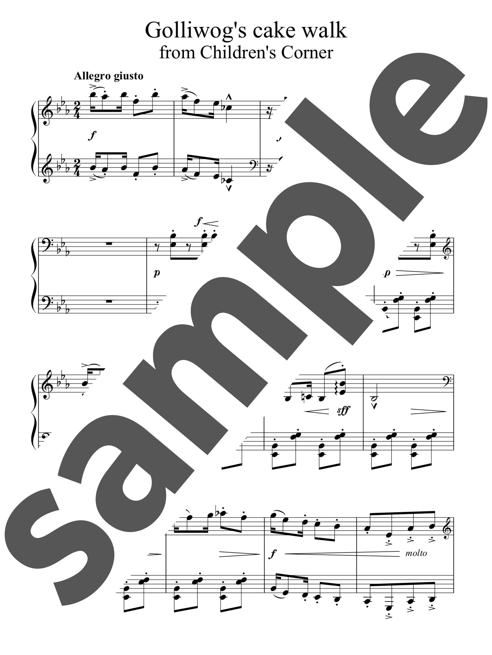 「ゴリウォーグのケークウォーク~「子供の領分」より」のサンプル楽譜