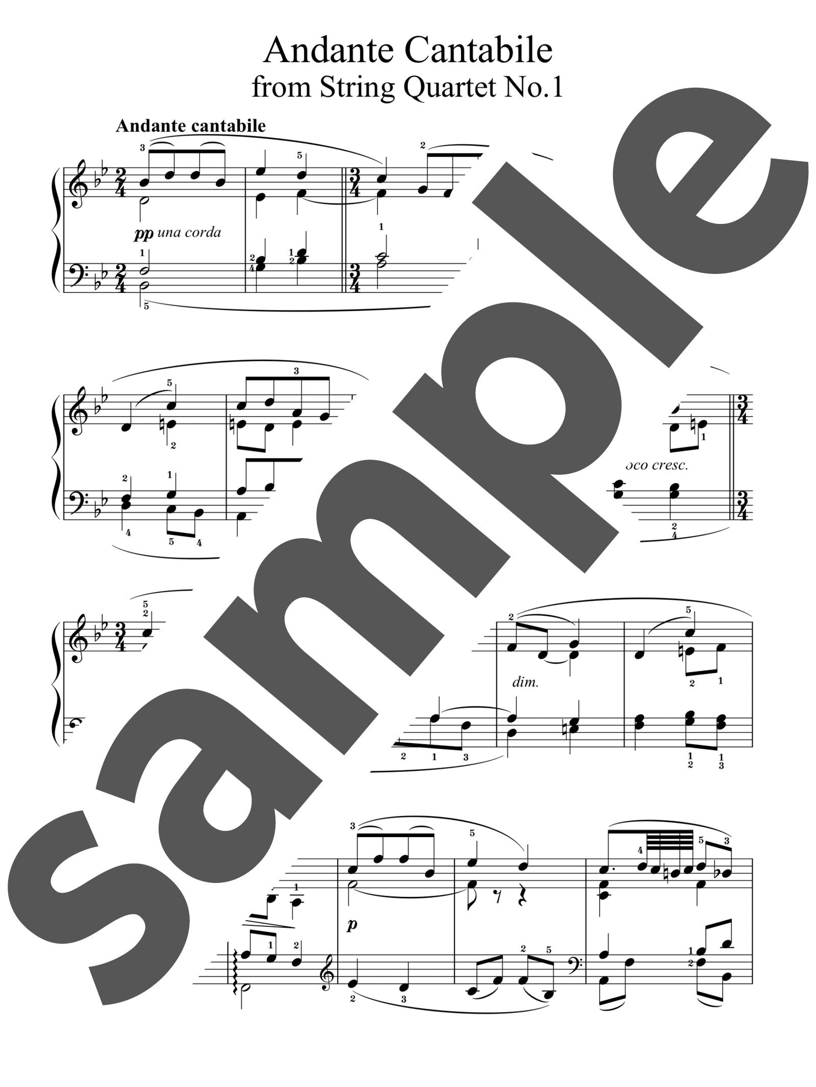 「アンダンテ・カンタービレ」のサンプル楽譜