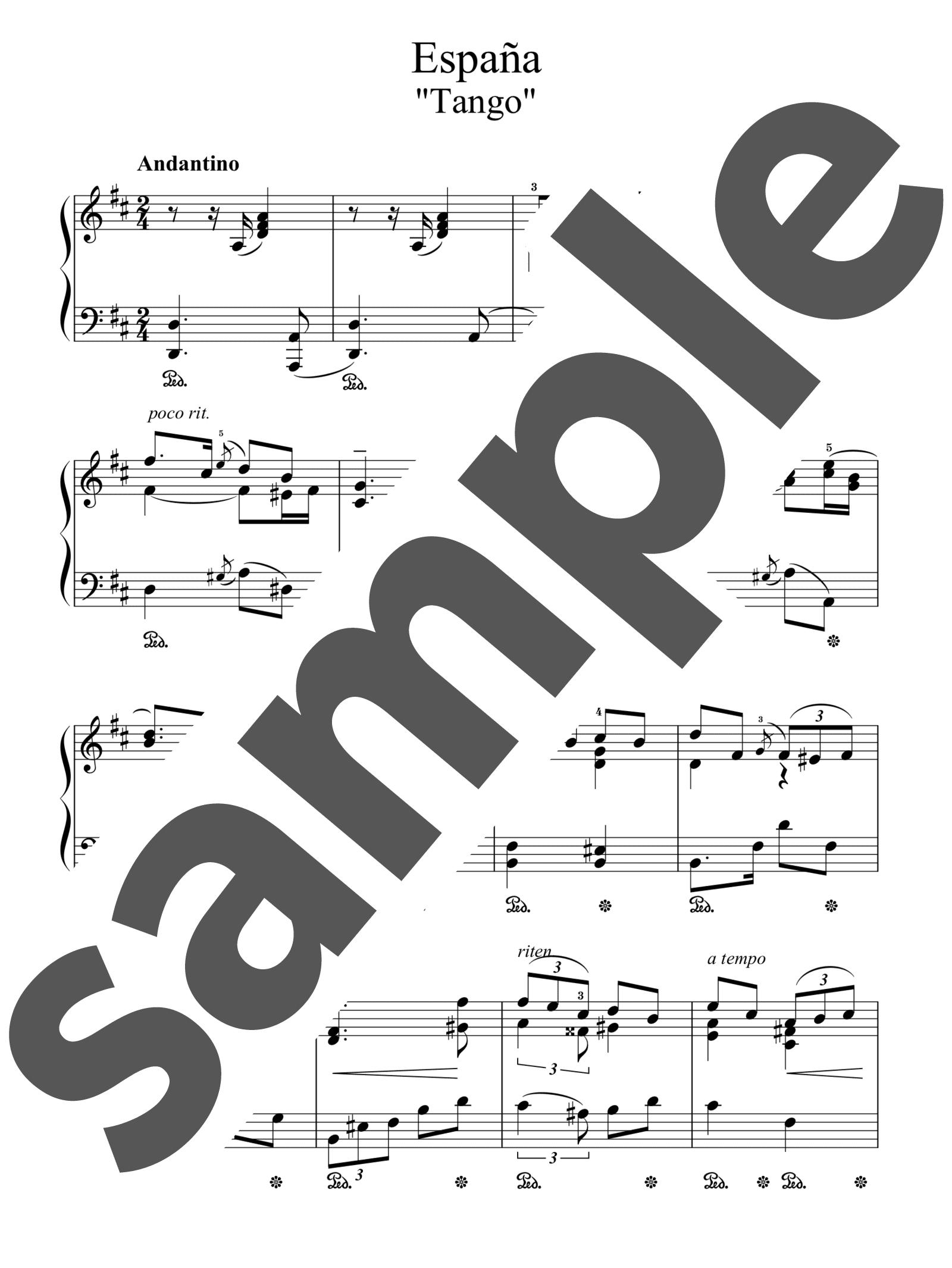 「組曲「スペイン」よりタンゴニ長調」のサンプル楽譜