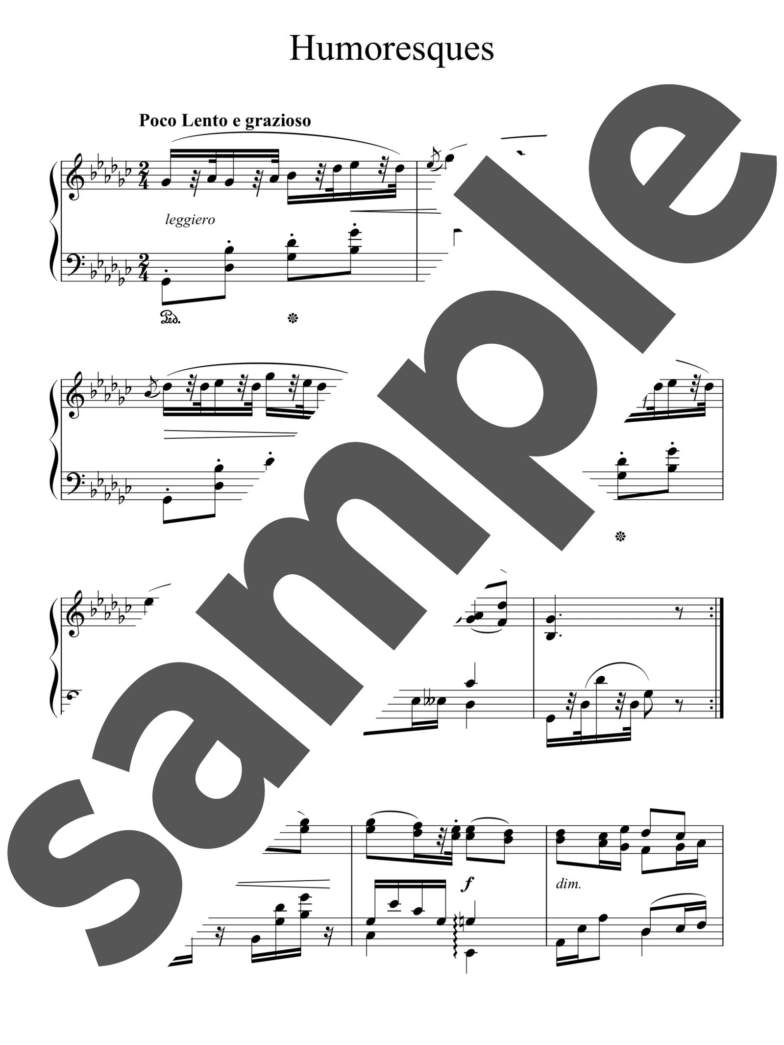 「ユーモレスク」のサンプル楽譜