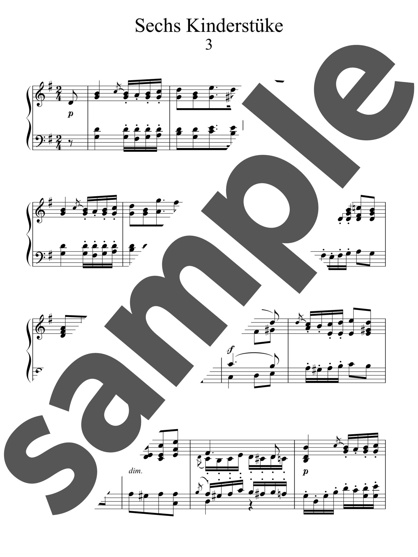 「6つの子供の小品より 第3番ト長調」のサンプル楽譜