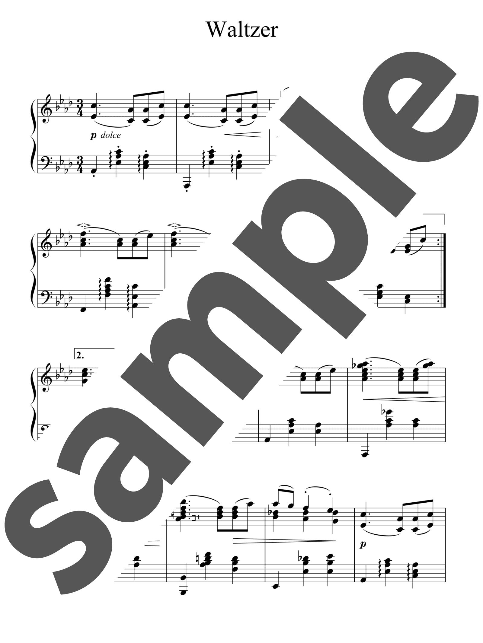 「ワルツ 第15番 変イ長調」のサンプル楽譜