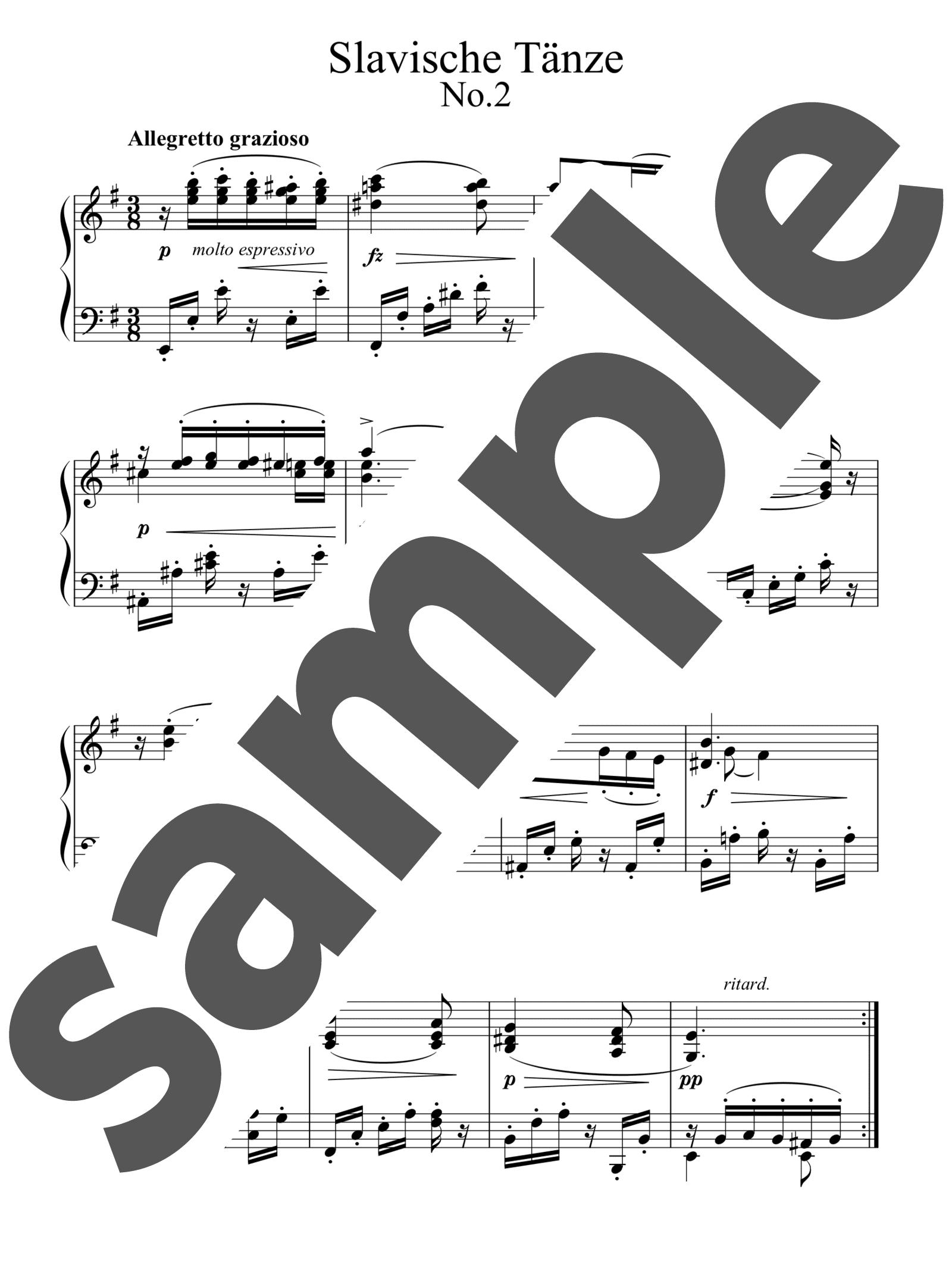 「スラブ舞曲集 第2集より第2番 ホ短調」のサンプル楽譜