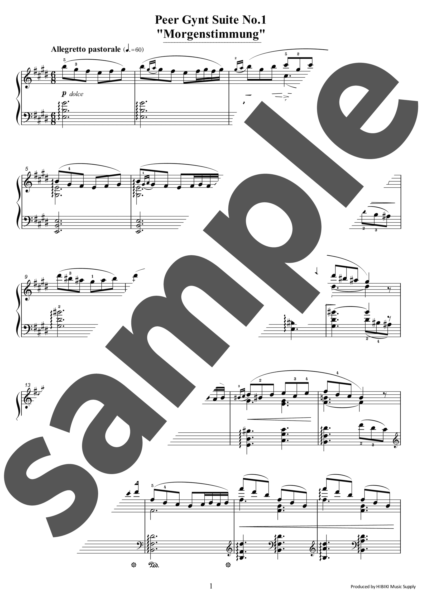 「「ペール・ギュント」第1組曲より朝の気分」のサンプル楽譜