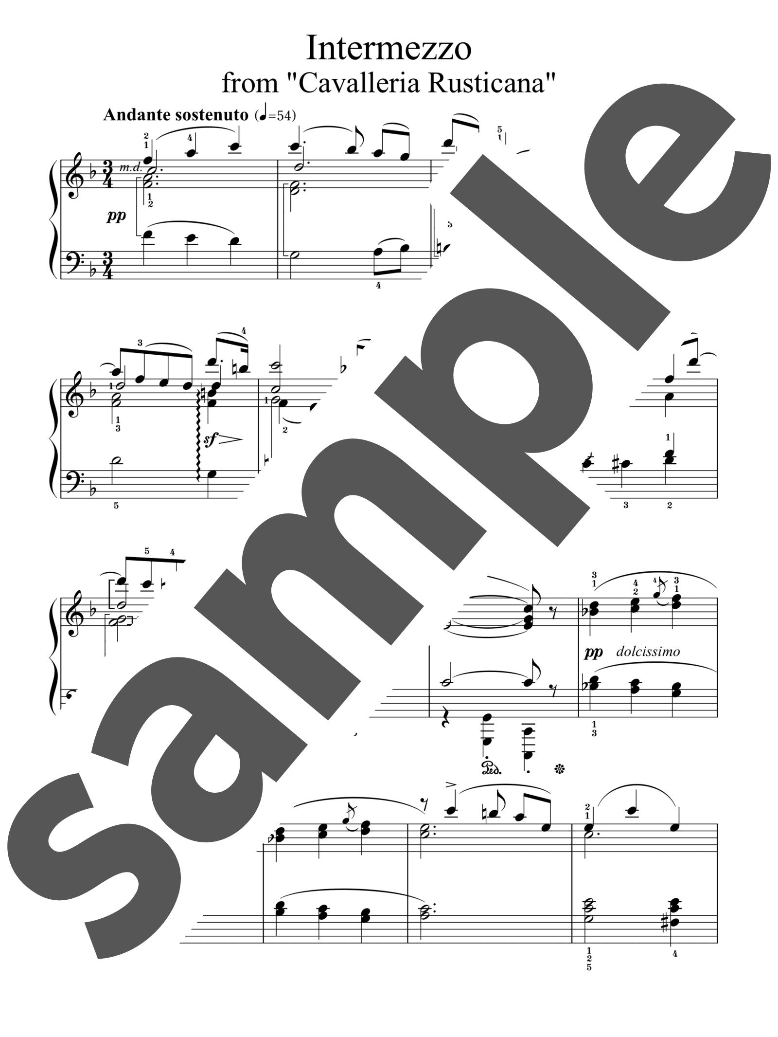 「歌劇「カヴァレリア・ルスティカーナ」より間奏曲」のサンプル楽譜