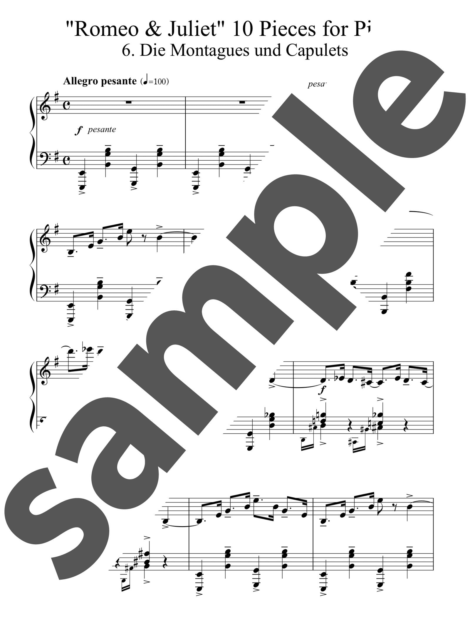 「「ロミオとジュリエット」からの10の小品よりモンタギュー家とキャピュレット家」のサンプル楽譜