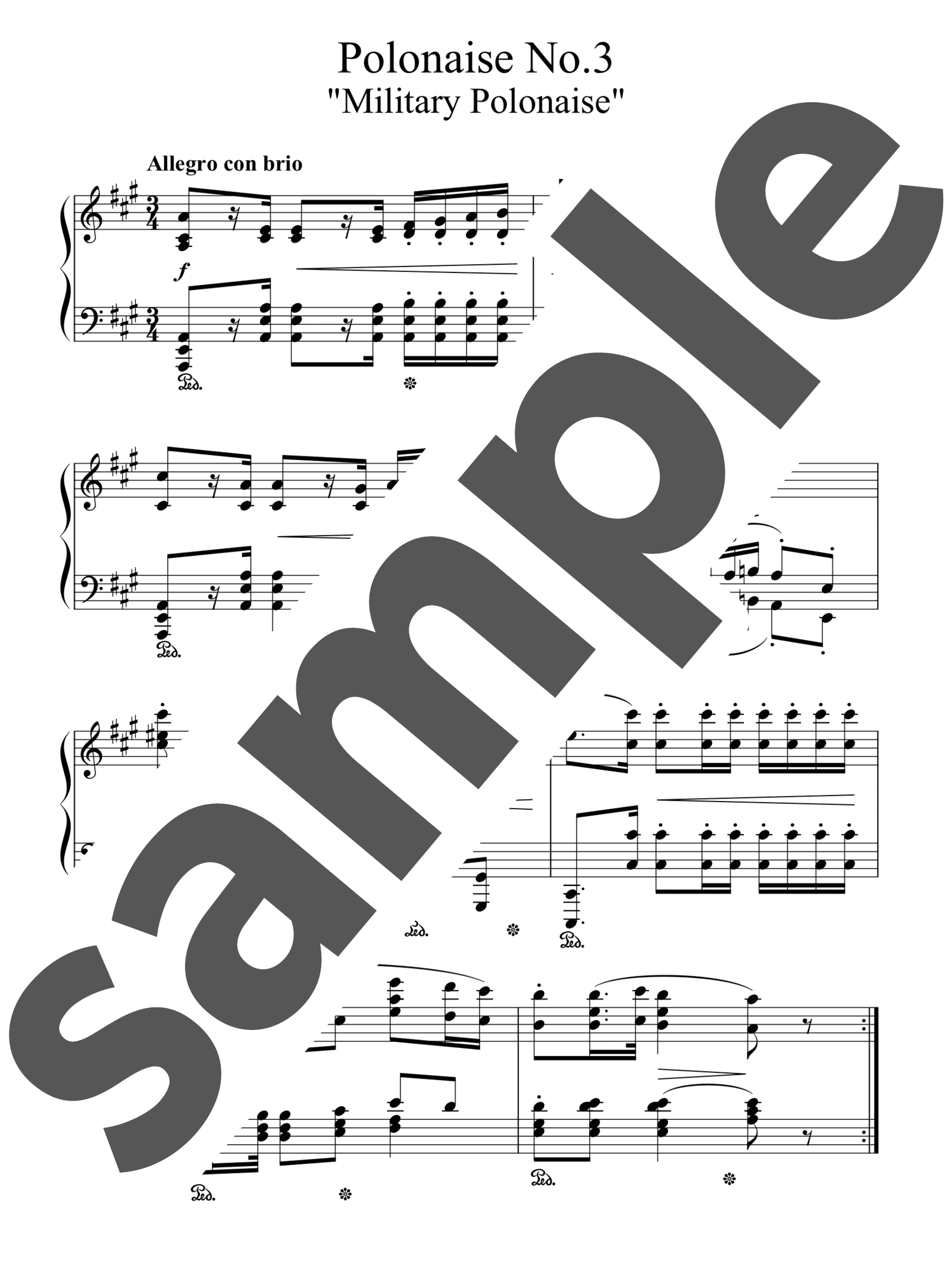 「ポロネーズ第3番「軍隊ポロネーズ」」のサンプル楽譜