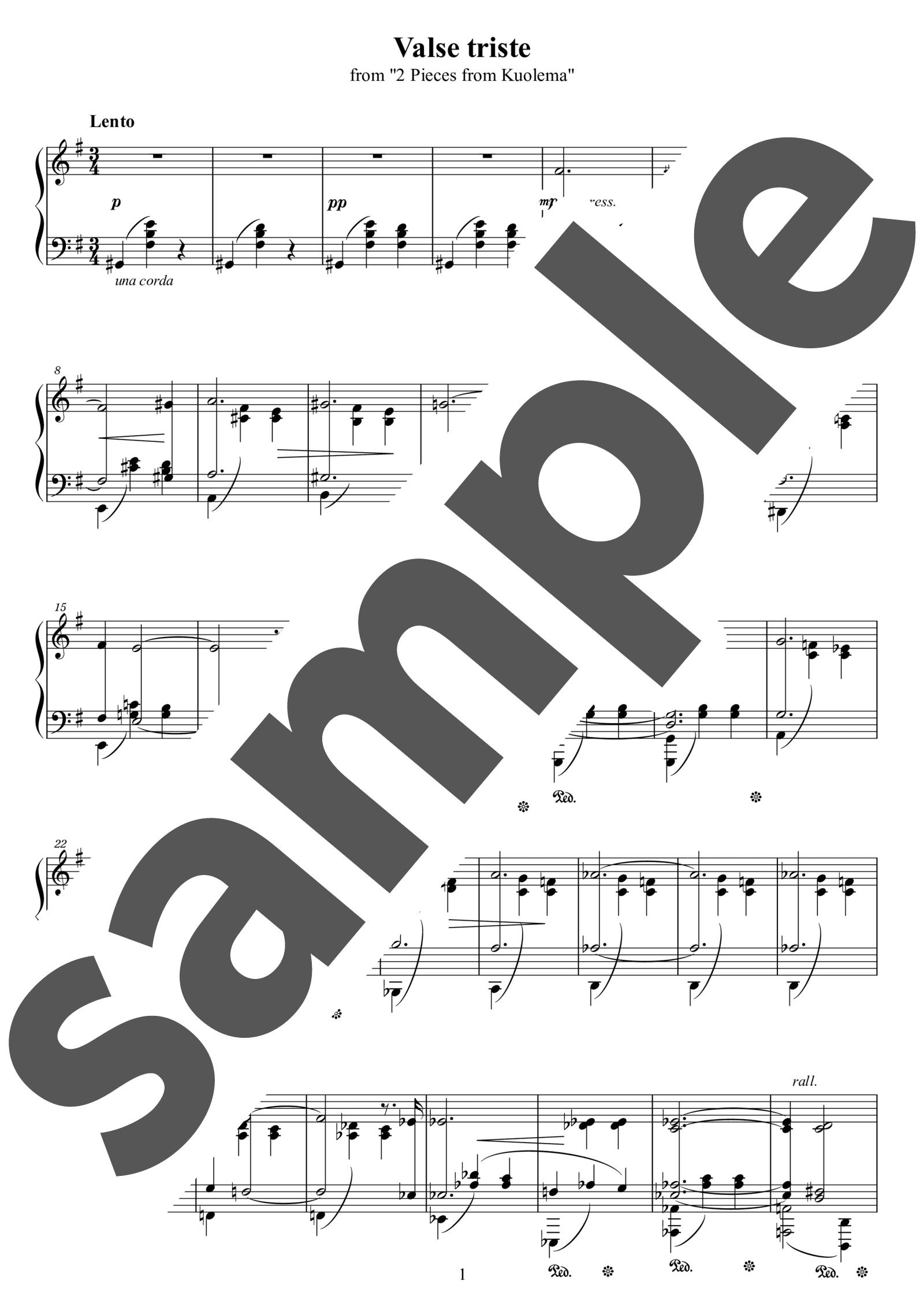 「悲しきワルツ」のサンプル楽譜