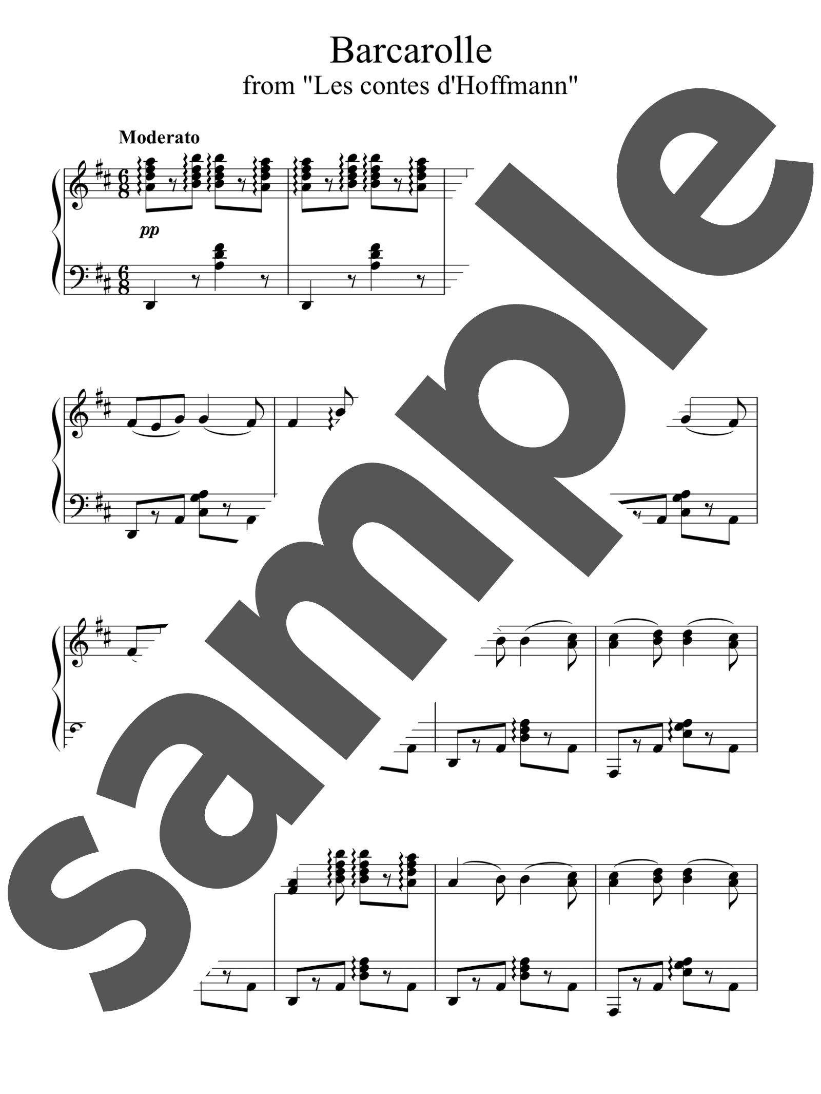 「オペラ「ホフマン物語」よりホフマンの舟歌」のサンプル楽譜