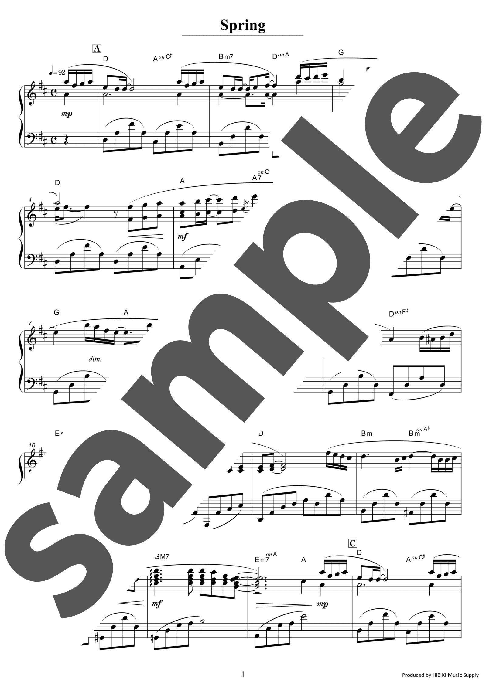 「Spring」のサンプル楽譜