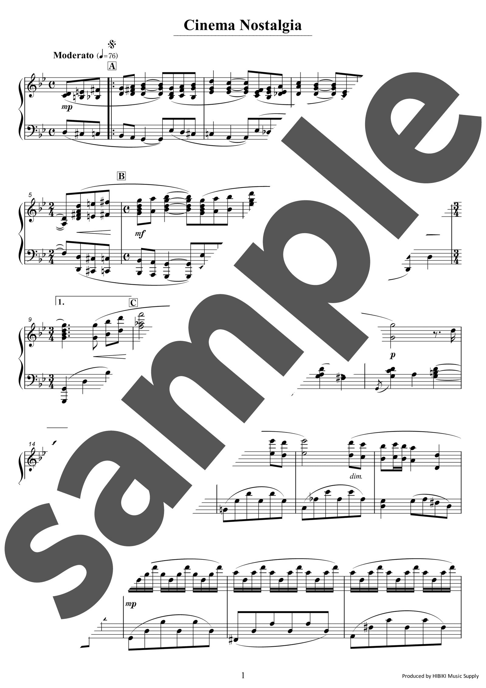 「シネマノスタルジィ」のサンプル楽譜
