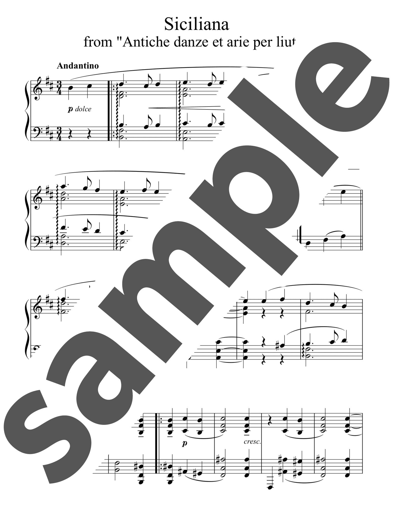 「「リュートのための古風な舞曲とアリア」第3組曲より「シチリアーナ」」のサンプル楽譜