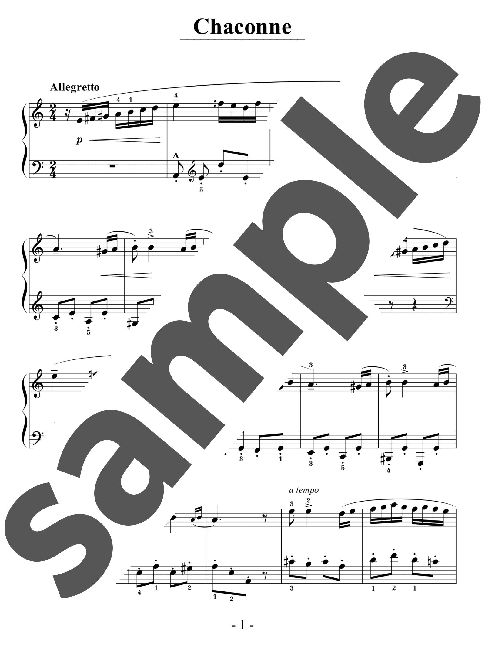 「シャコンヌ」のサンプル楽譜