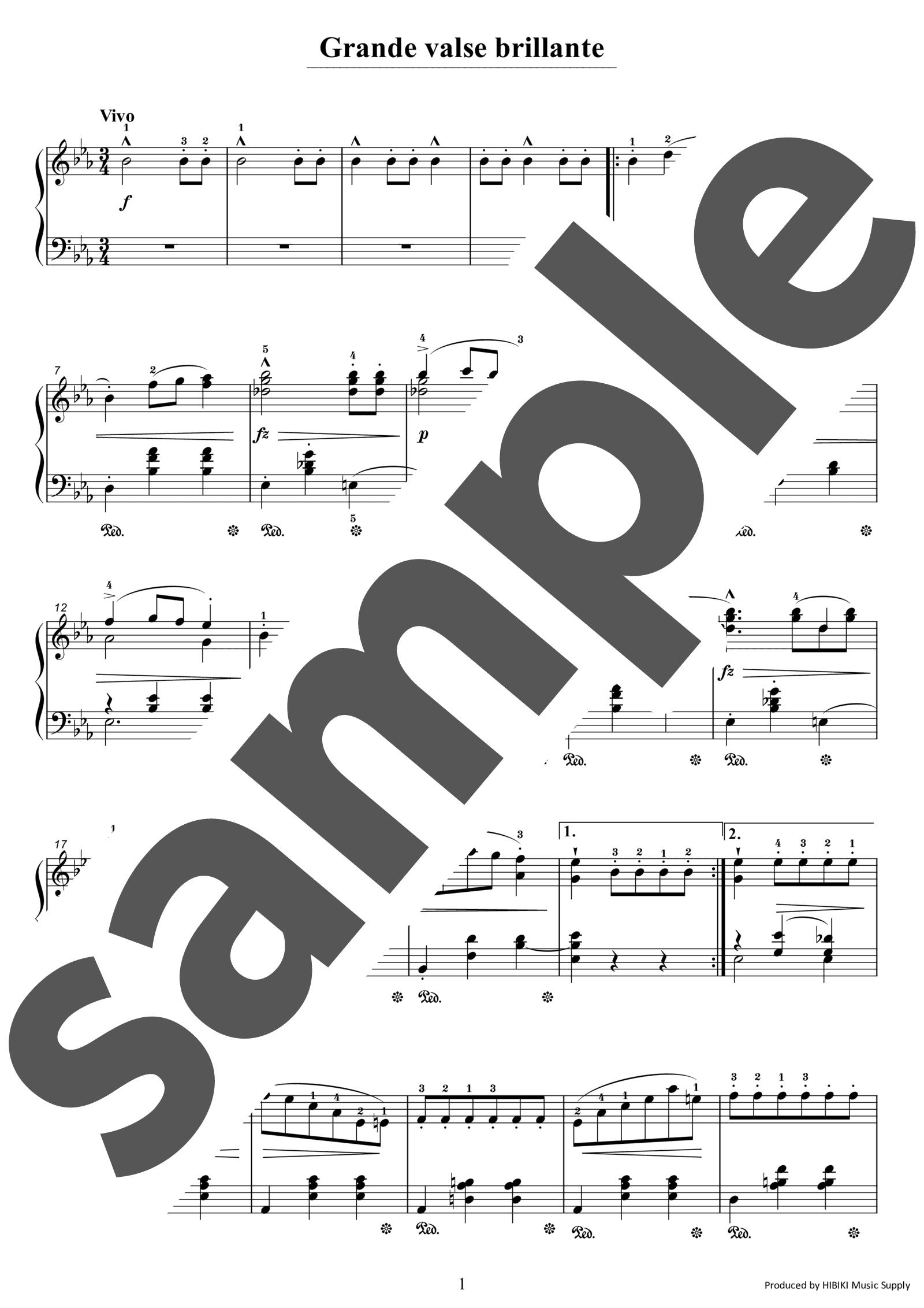 「ワルツ第1番変ホ長調「華麗なる大円舞曲」」のサンプル楽譜