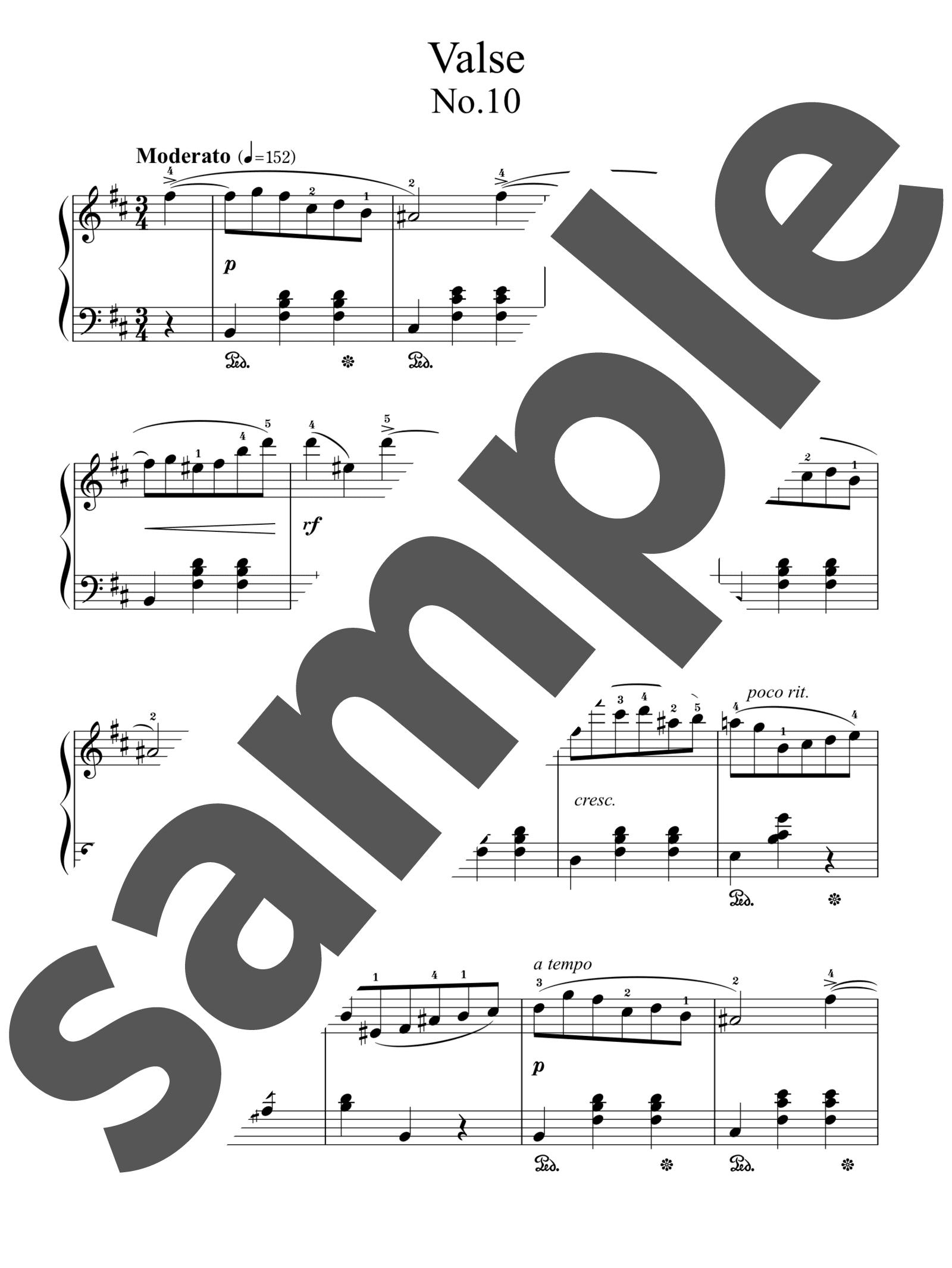 「ワルツ第10番 ロ短調」のサンプル楽譜