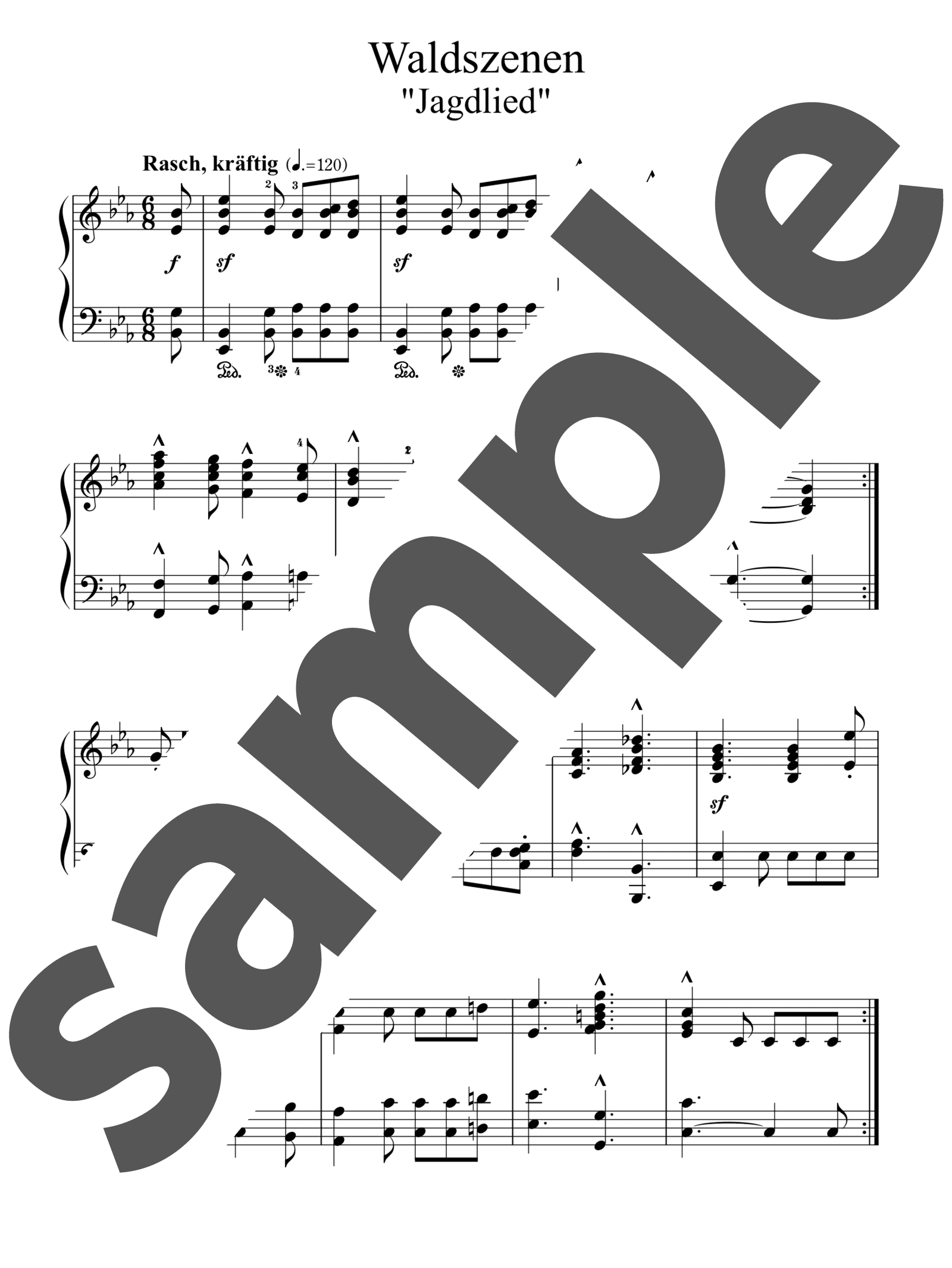 「「森の情景」より 狩の歌」のサンプル楽譜