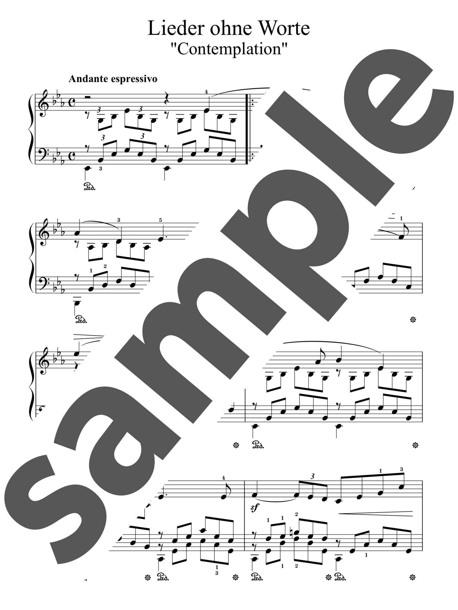 「無言歌集 第2巻 第1番 瞑想」のサンプル楽譜
