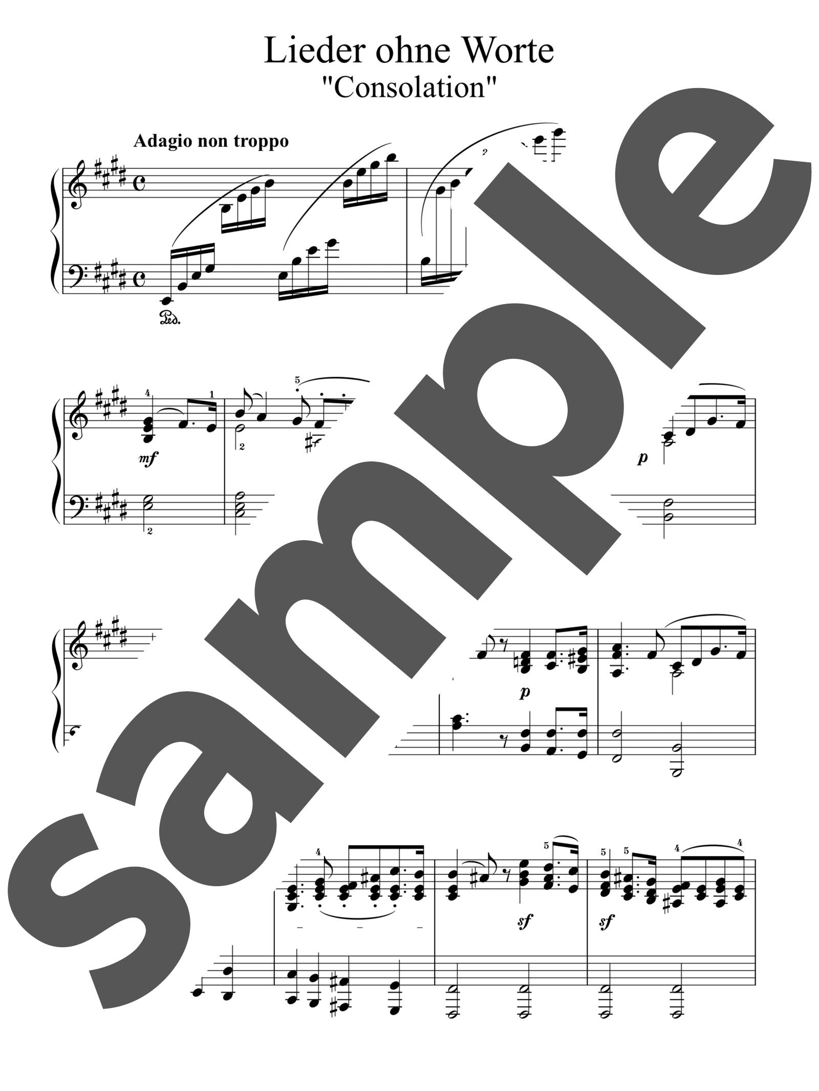 「無言歌集 第2巻 第3番 慰め」のサンプル楽譜