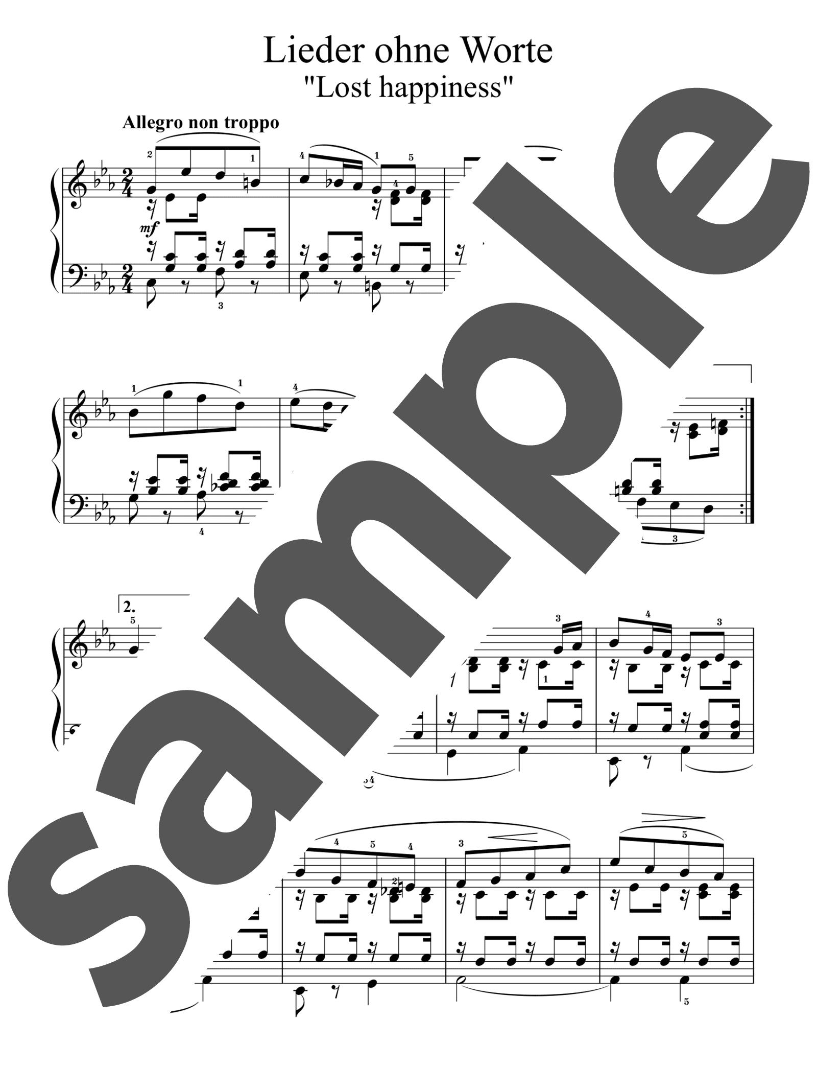 「無言歌集 第3巻 第2番 失われた幸福」のサンプル楽譜