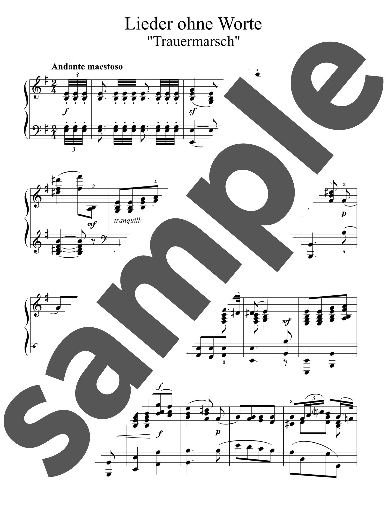 「無言歌集 第5巻 第3番 葬送行進曲」のサンプル楽譜