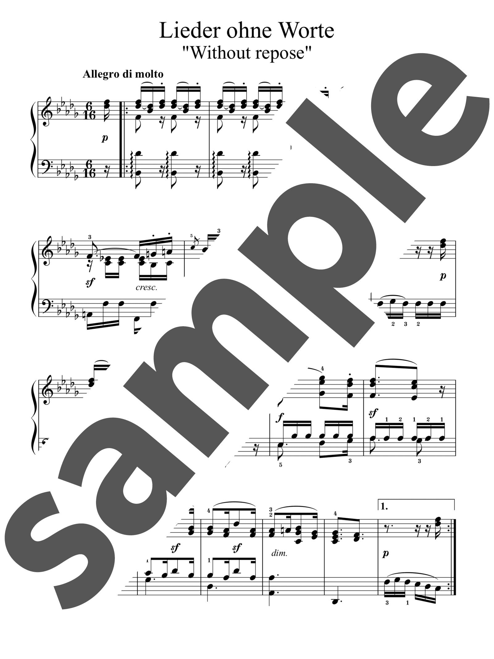 「無言歌集 第2巻 第2番 安らぎもなく」のサンプル楽譜