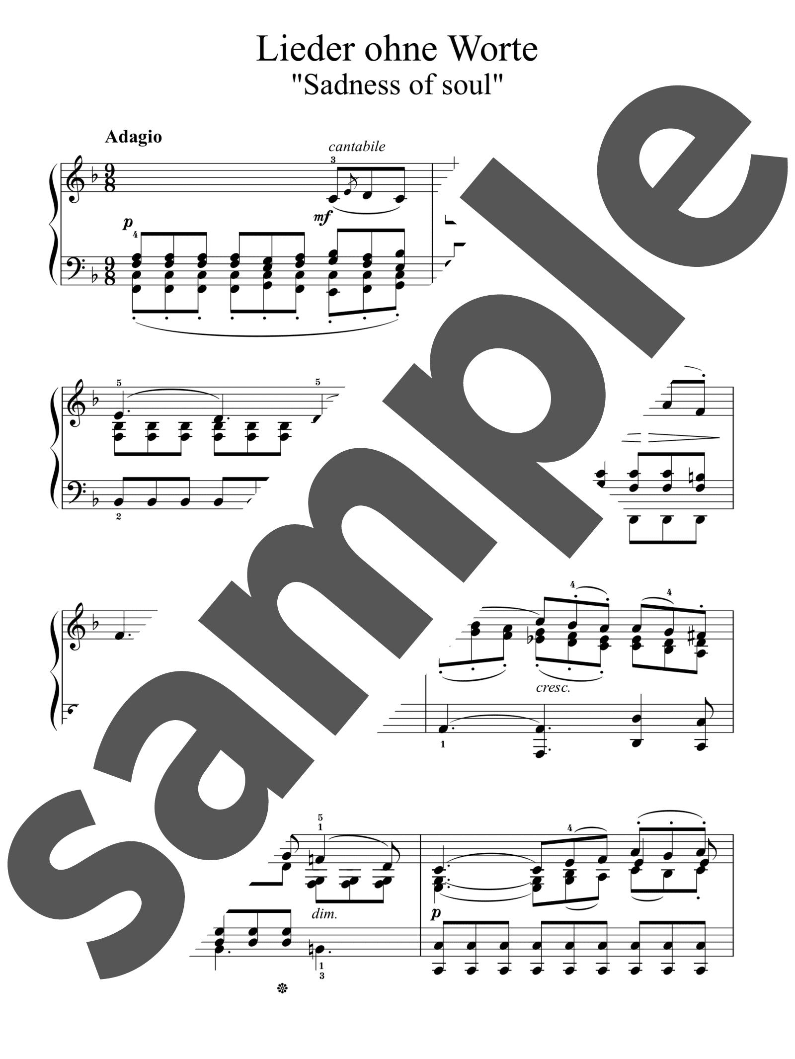 「無言歌集 第4巻 第4番 心の悲しみ」のサンプル楽譜