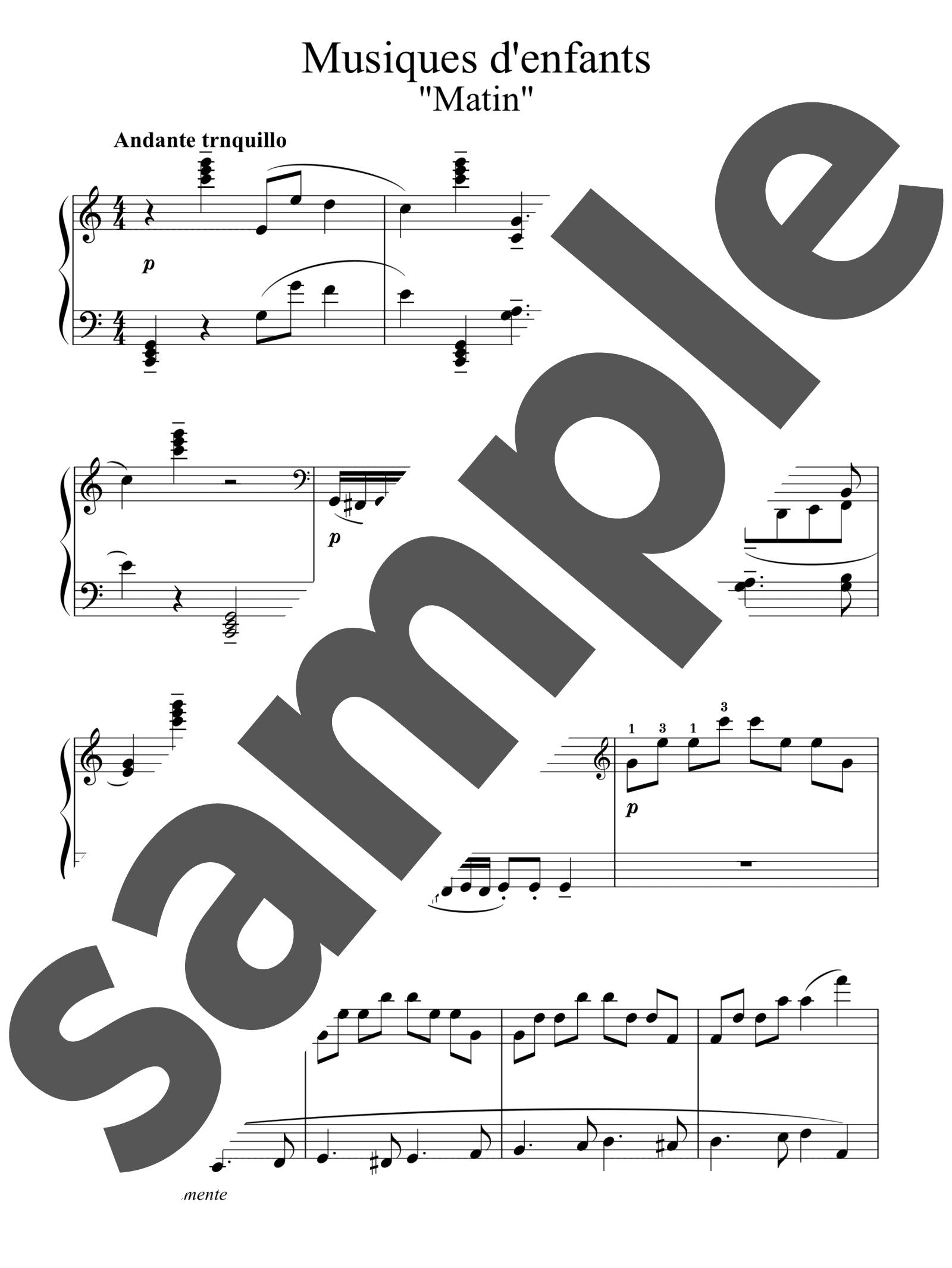 「12のやさしい小品「子供の音楽」より 朝」のサンプル楽譜